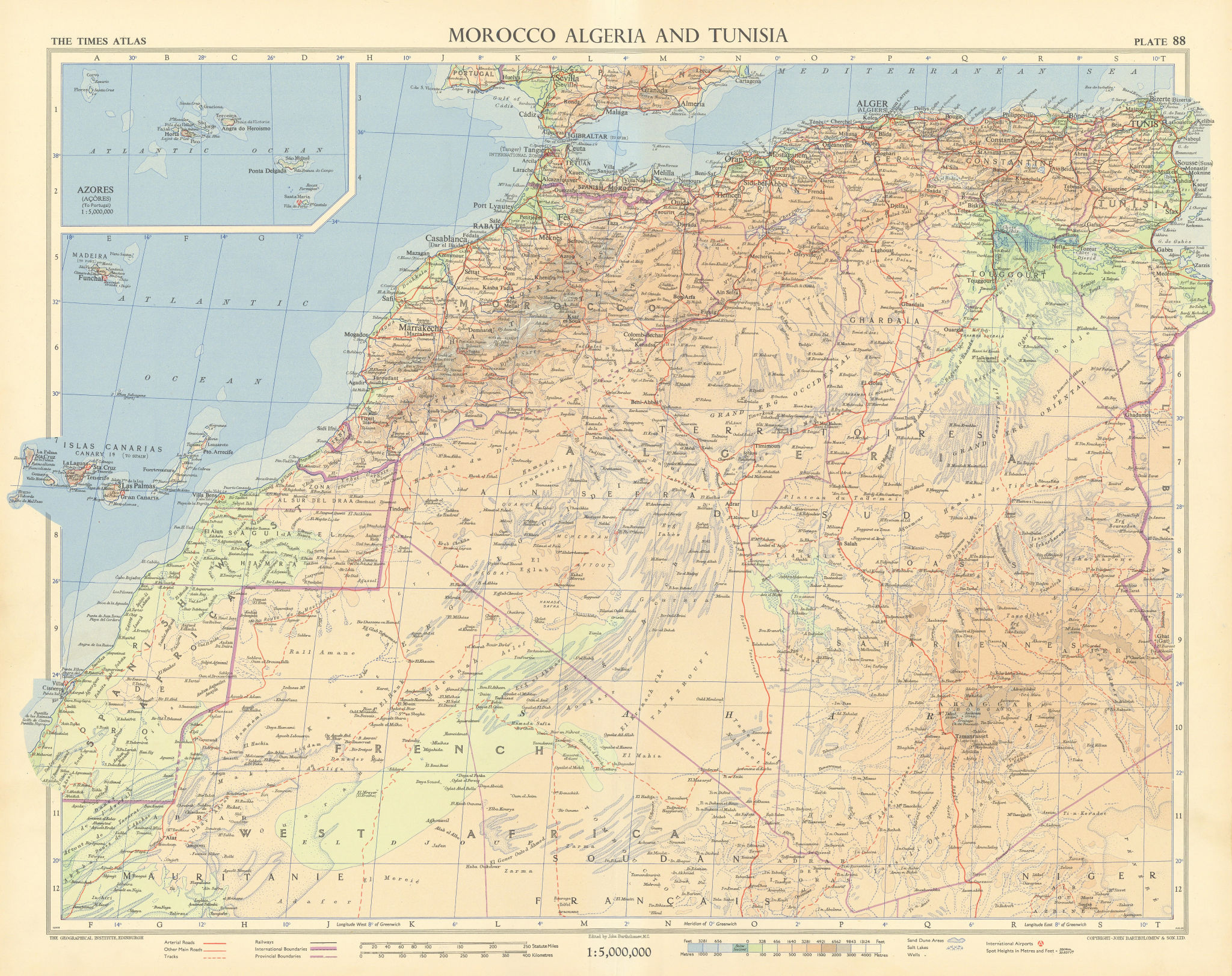 Morocco Algeria. French & Spanish West Africa. Sahara sand dunes. TIMES 1956 map
