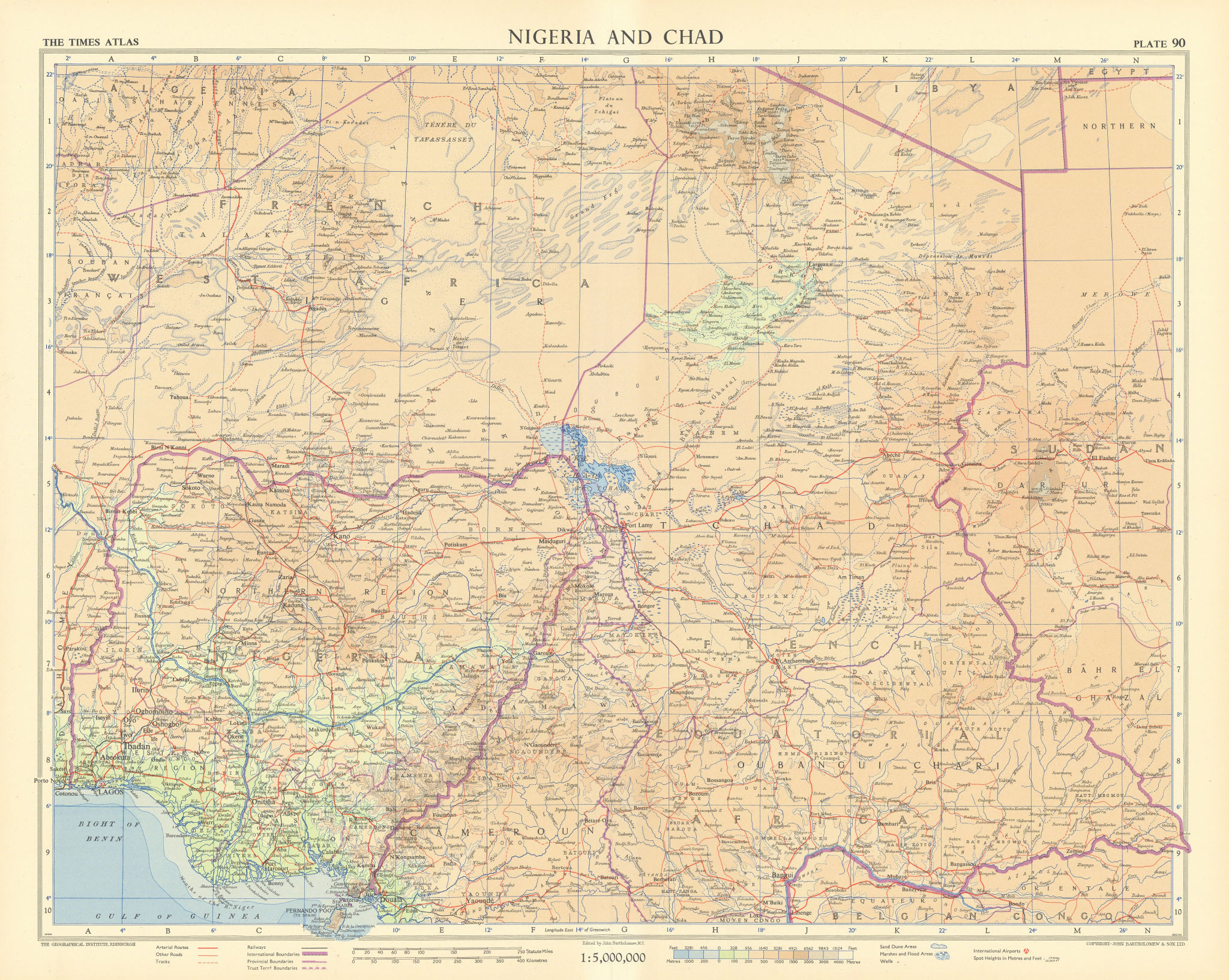 Nigeria & Chad. French West & Equatorial Africa. Cameroon. TIMES 1956 old map