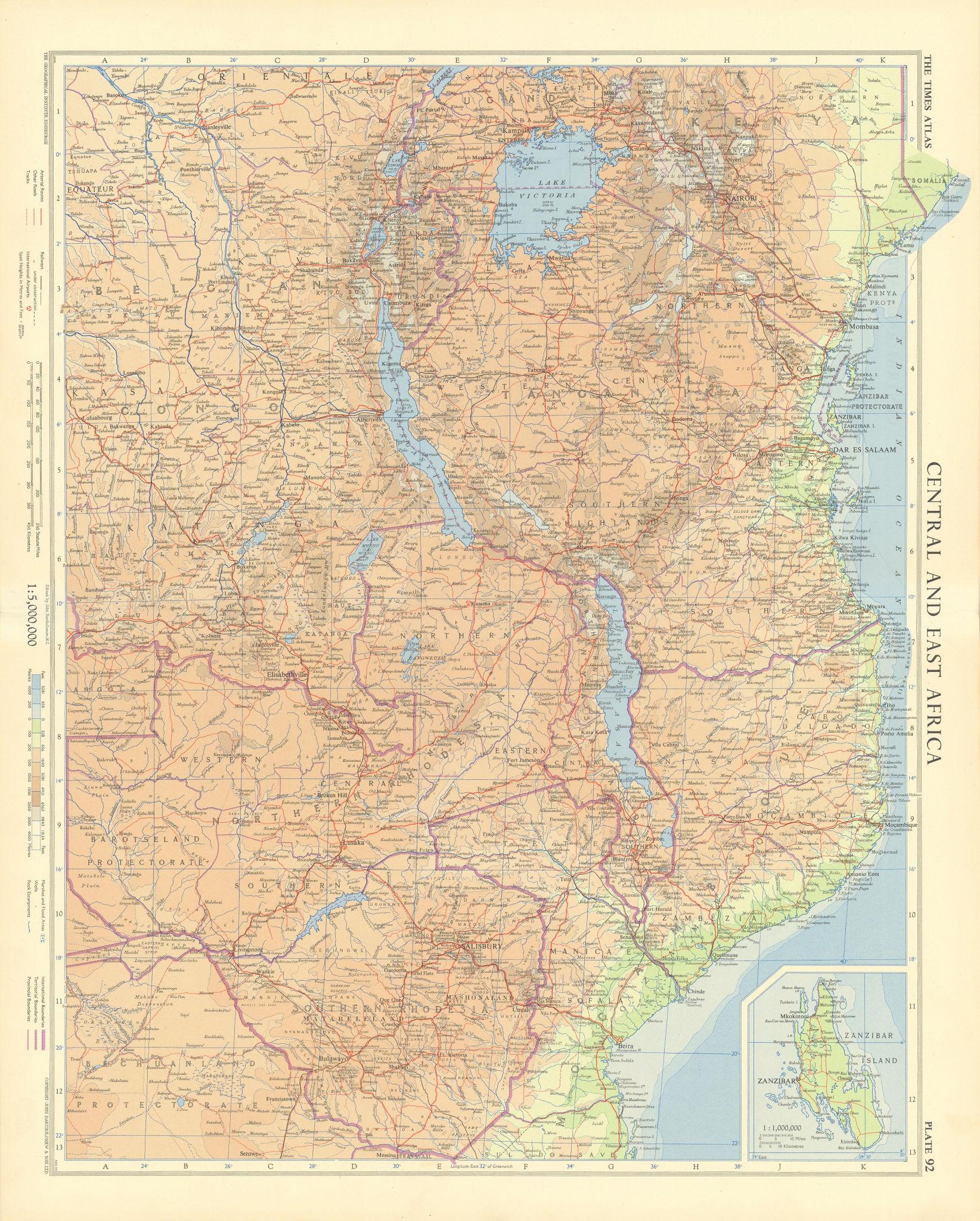 Central & East Africa. Zanzibar Tanganyika Rhodesia Congo. TIMES 1956 old map
