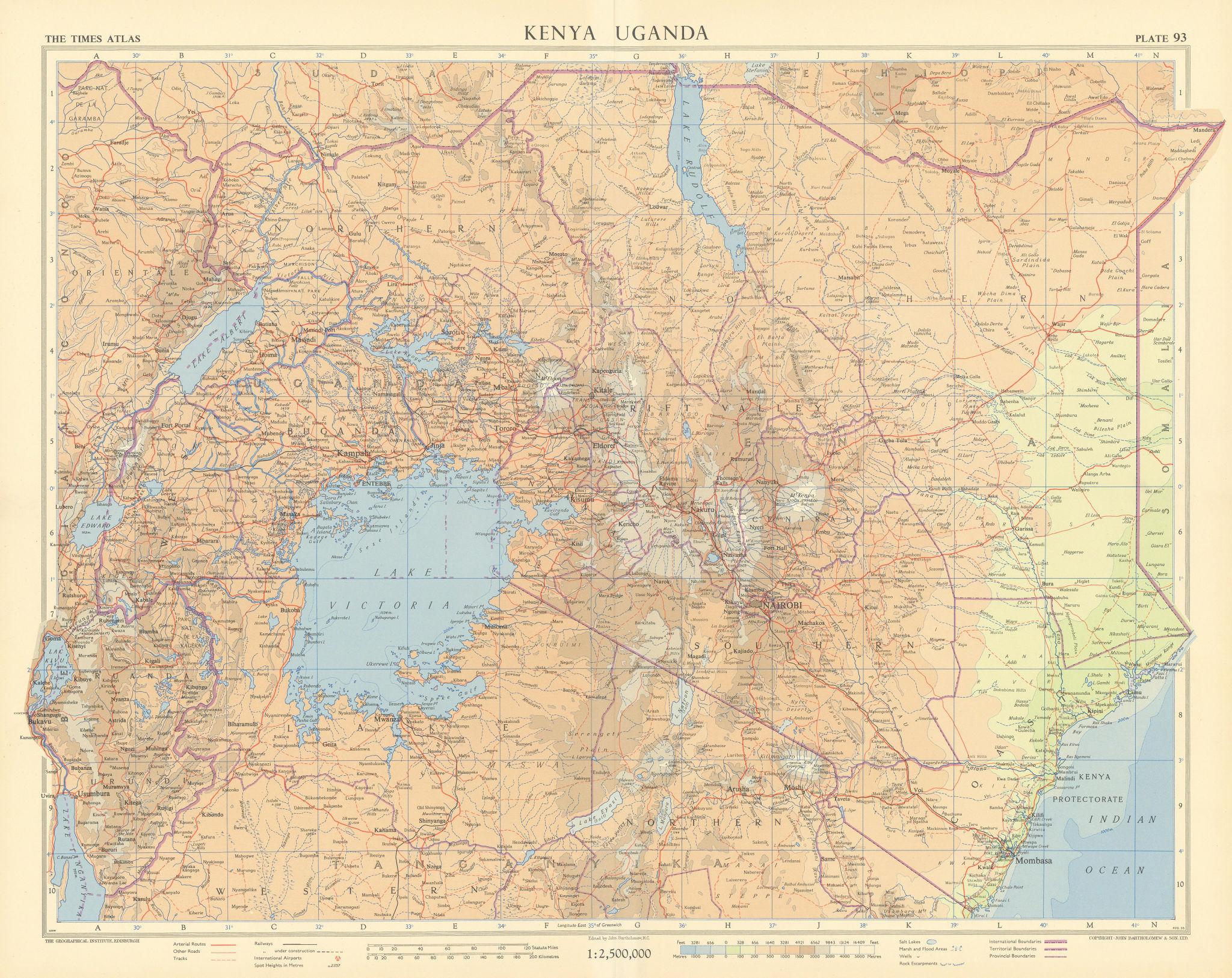 East African Rift valley. Kenya Uganda Tanganyika Tanzania Rwanda TIMES 1956 map
