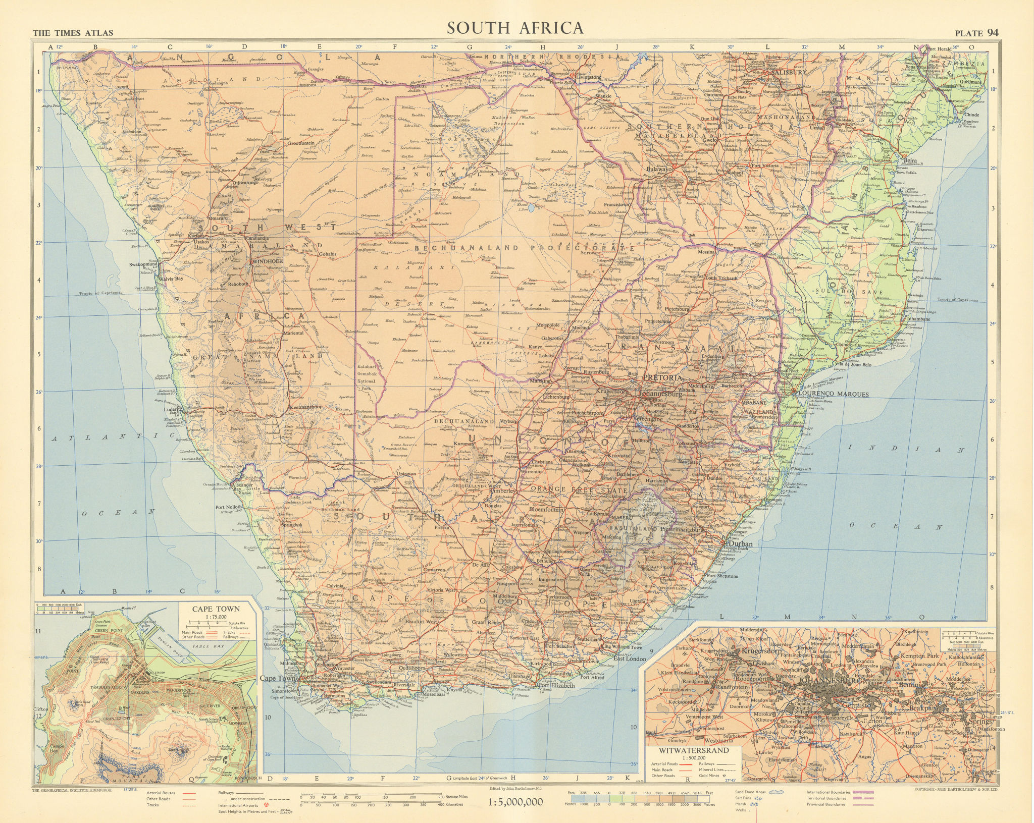 Southern Africa. Cape Town environs. Witwatersrand Johannesburg. TIMES 1956 map