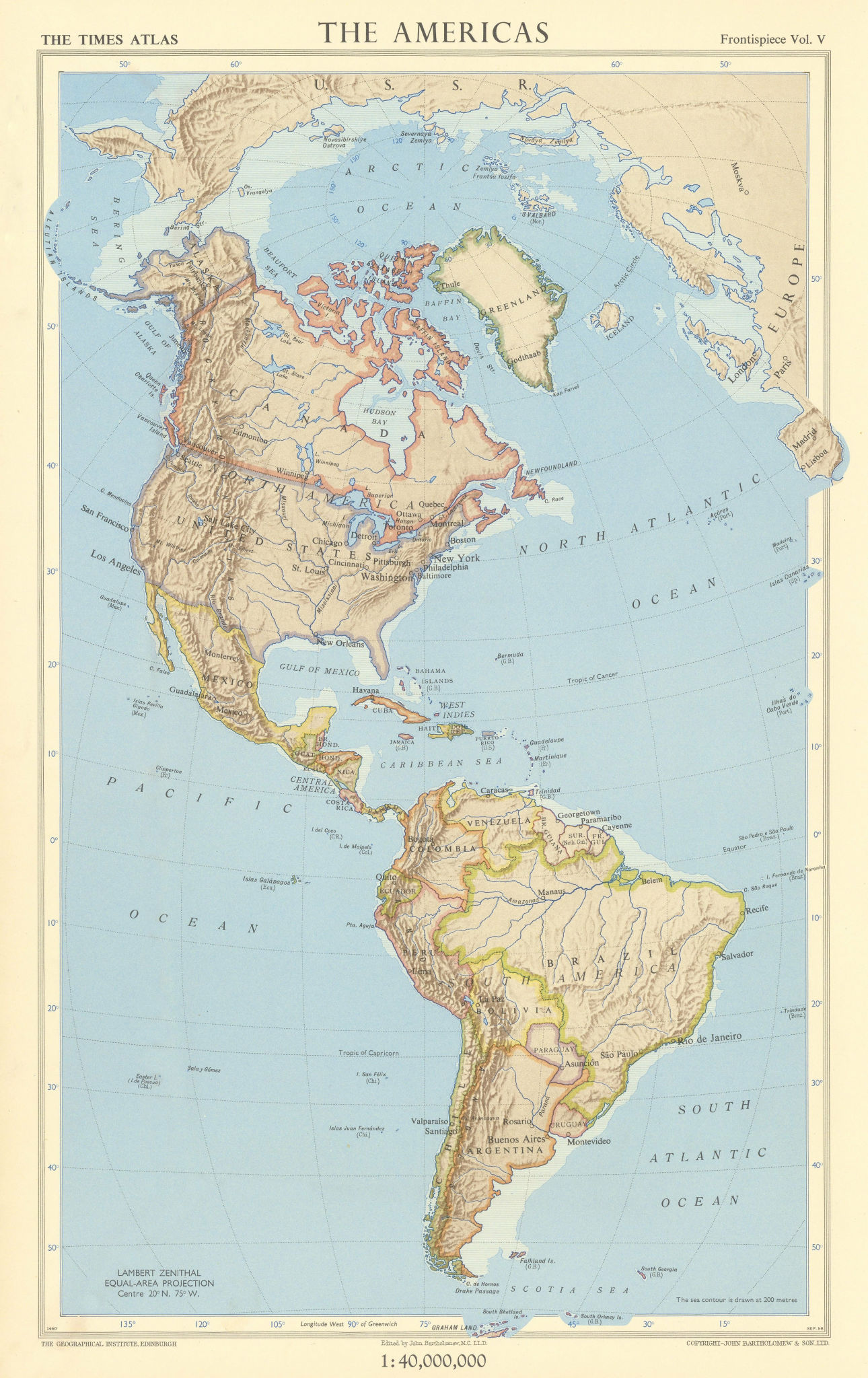 The Americas. Lambert Zenithal equal-area projection. TIMES 1957 old map