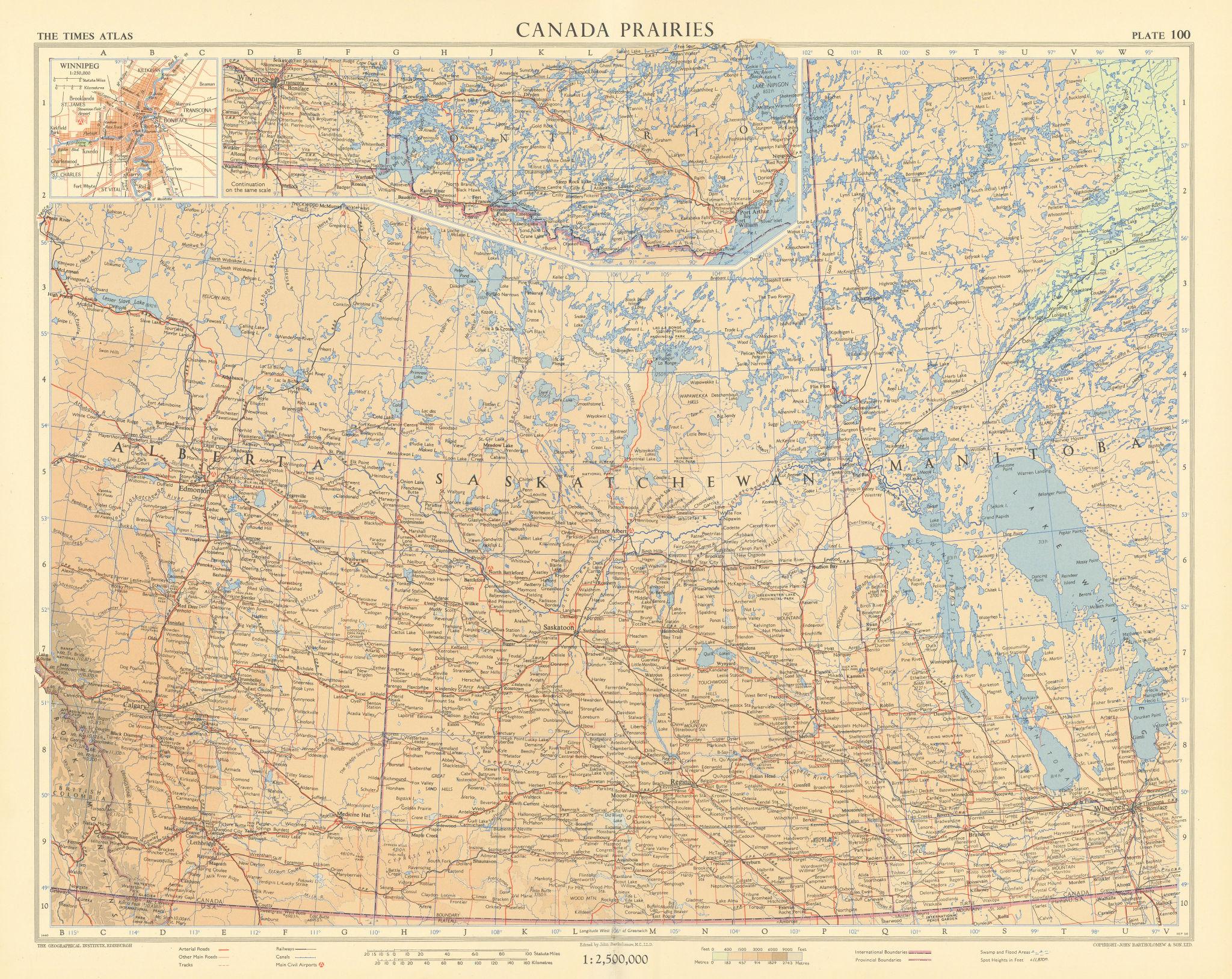 Canada Prairies. Winnipeg. Alberta Saskatchewan Manitoba. TIMES 1957 old map