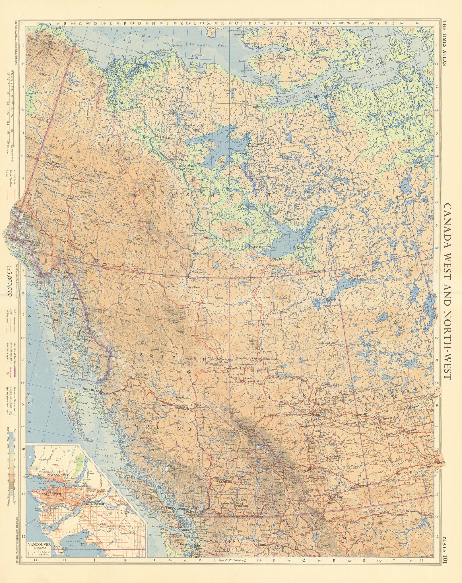 Canada west. Vancouver British Columbia Alberta Yukon. TIMES 1957 old map