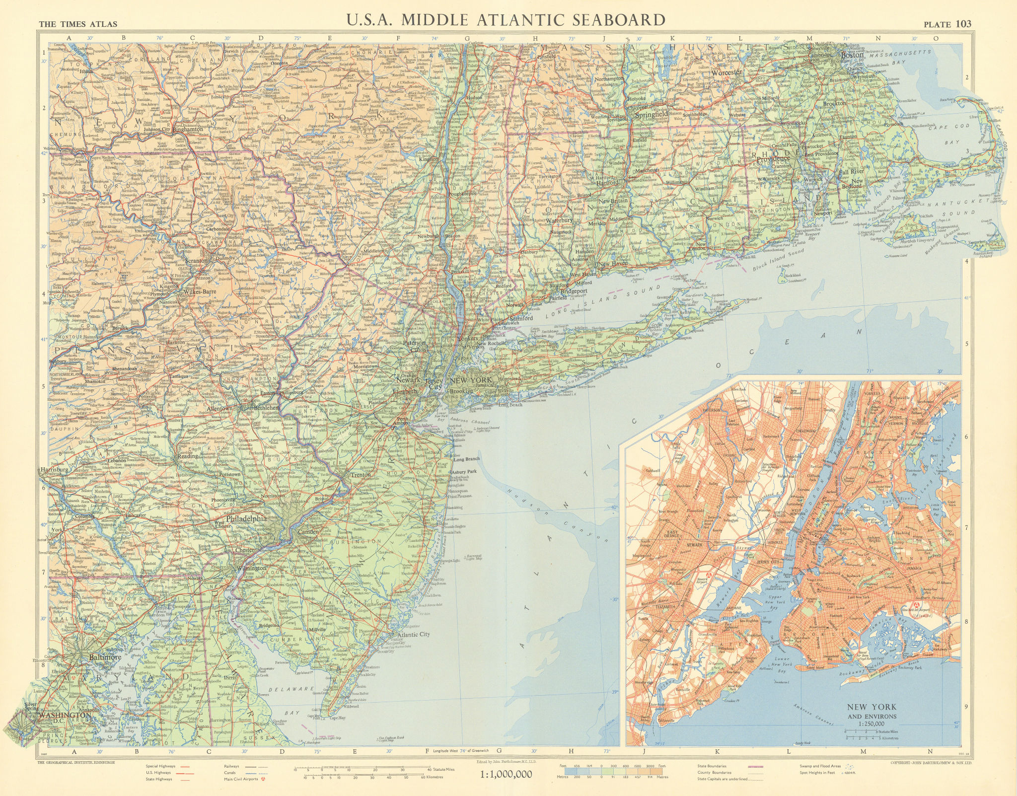 USA Middle Atlantic seaboard. New York City. New England. TIMES 1957 old map