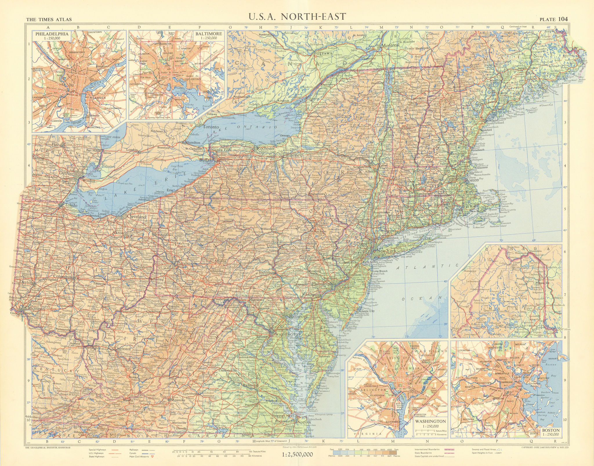 USA Northeast. Philadelphia Baltimore Washington DC Boston. TIMES 1957 old map