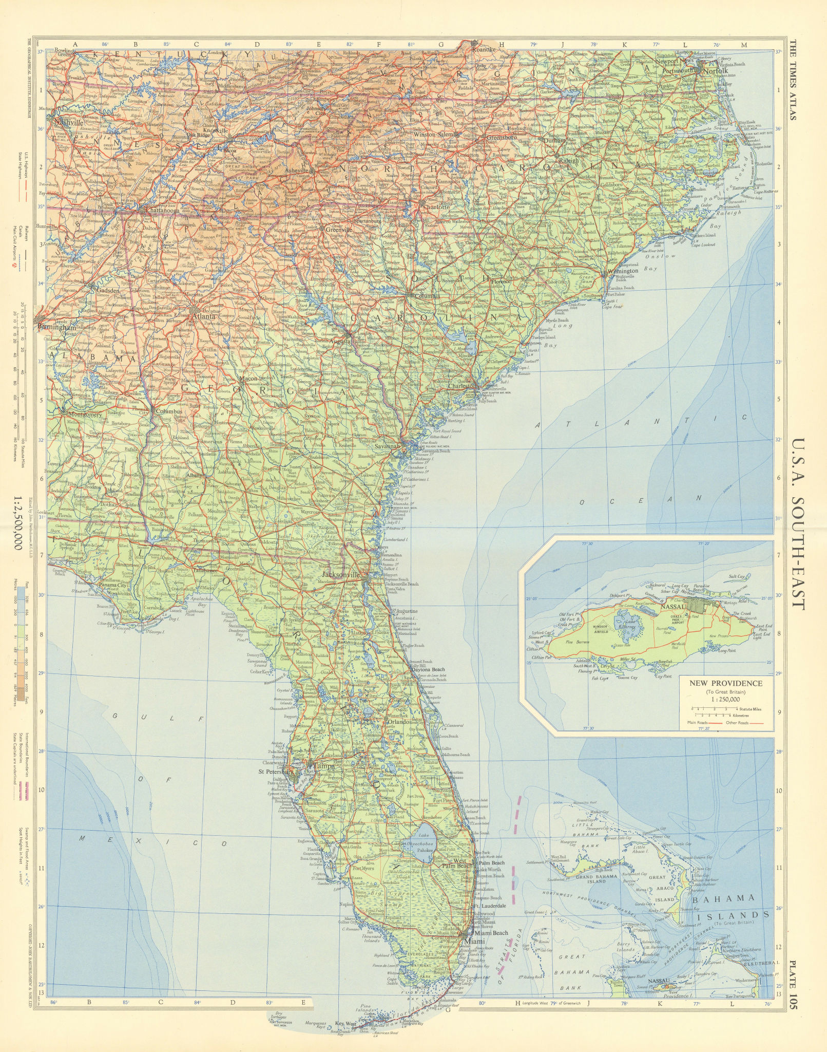 Southeastern USA. Inset New Providence, Bahamas. TIMES 1957 old vintage map