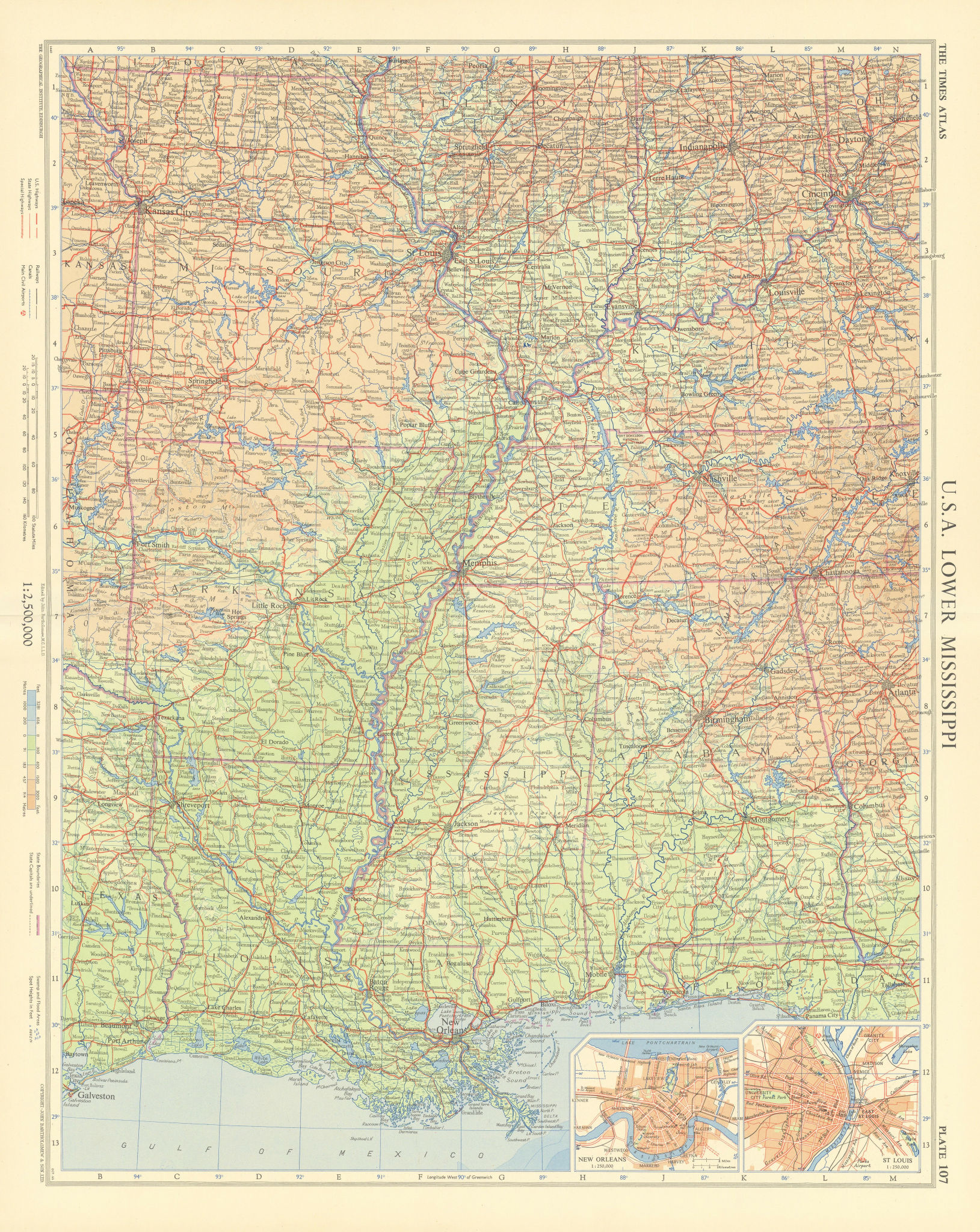 USA Lower Mississipi. New Orleans & St Louis plans. Deep South. TIMES 1957 map