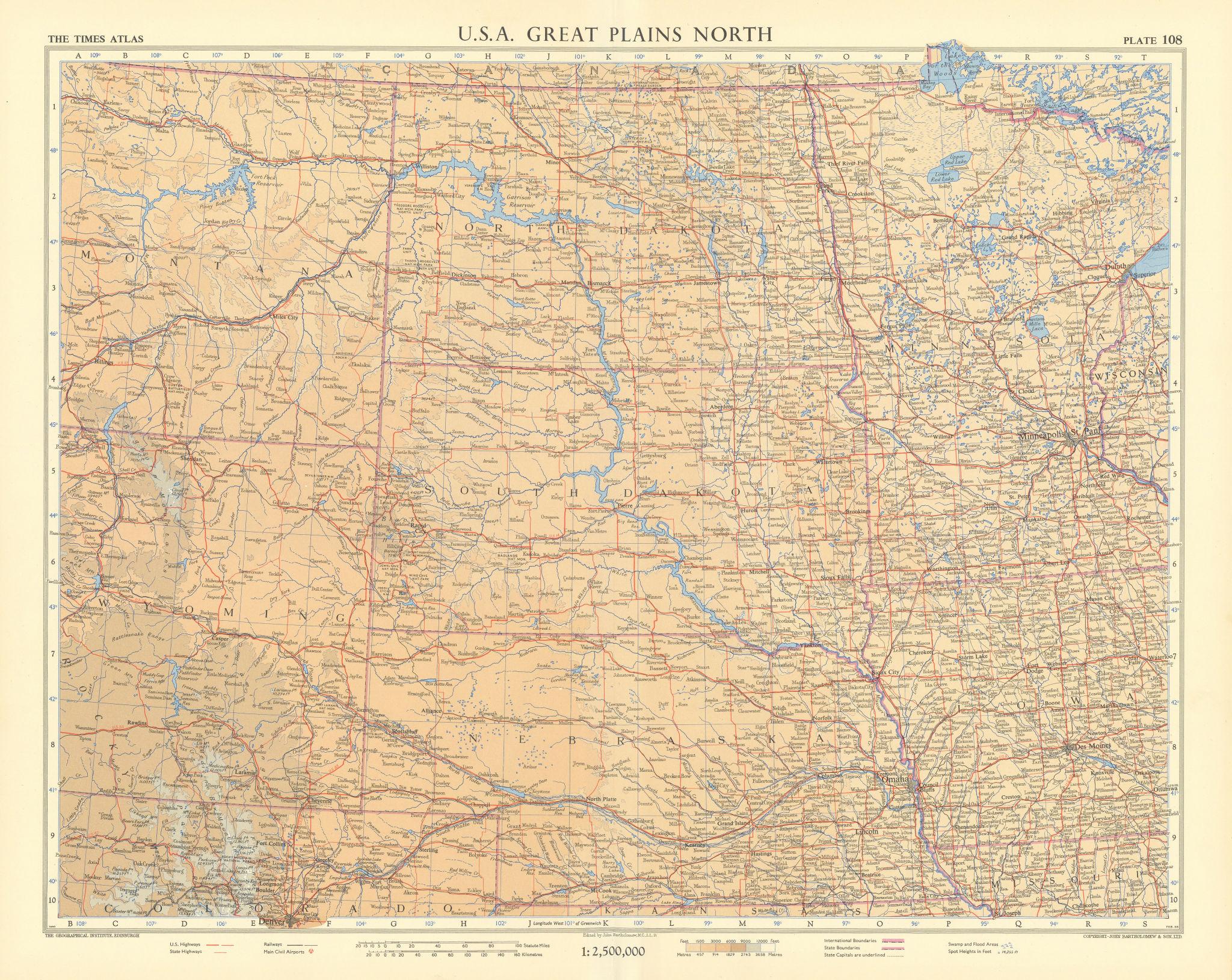 USA Great Plains north. Dakotas Nebraska Montana Wyoming. TIMES 1957 old map
