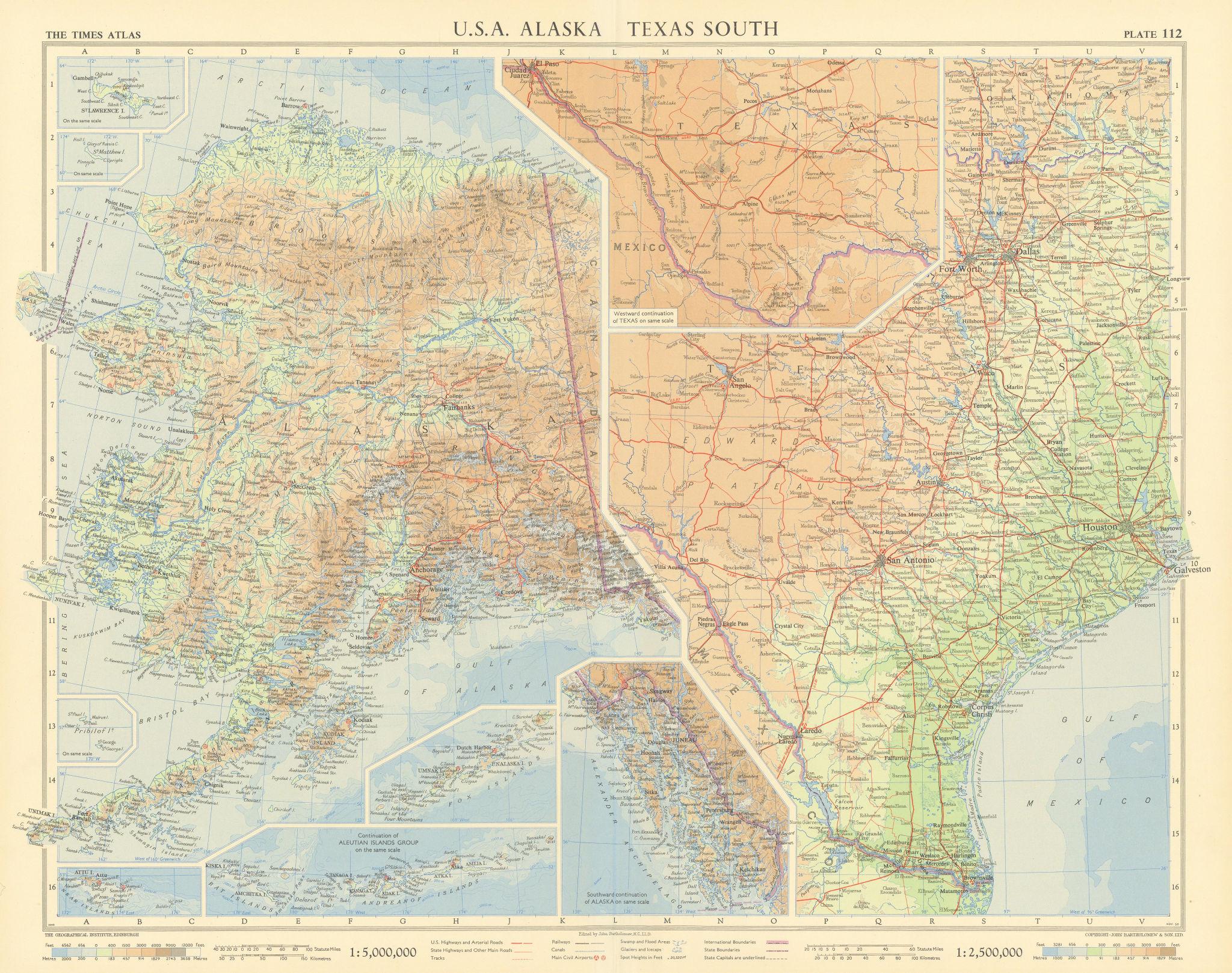 Alaska & Southern Texas. TIMES 1957 old vintage map plan chart