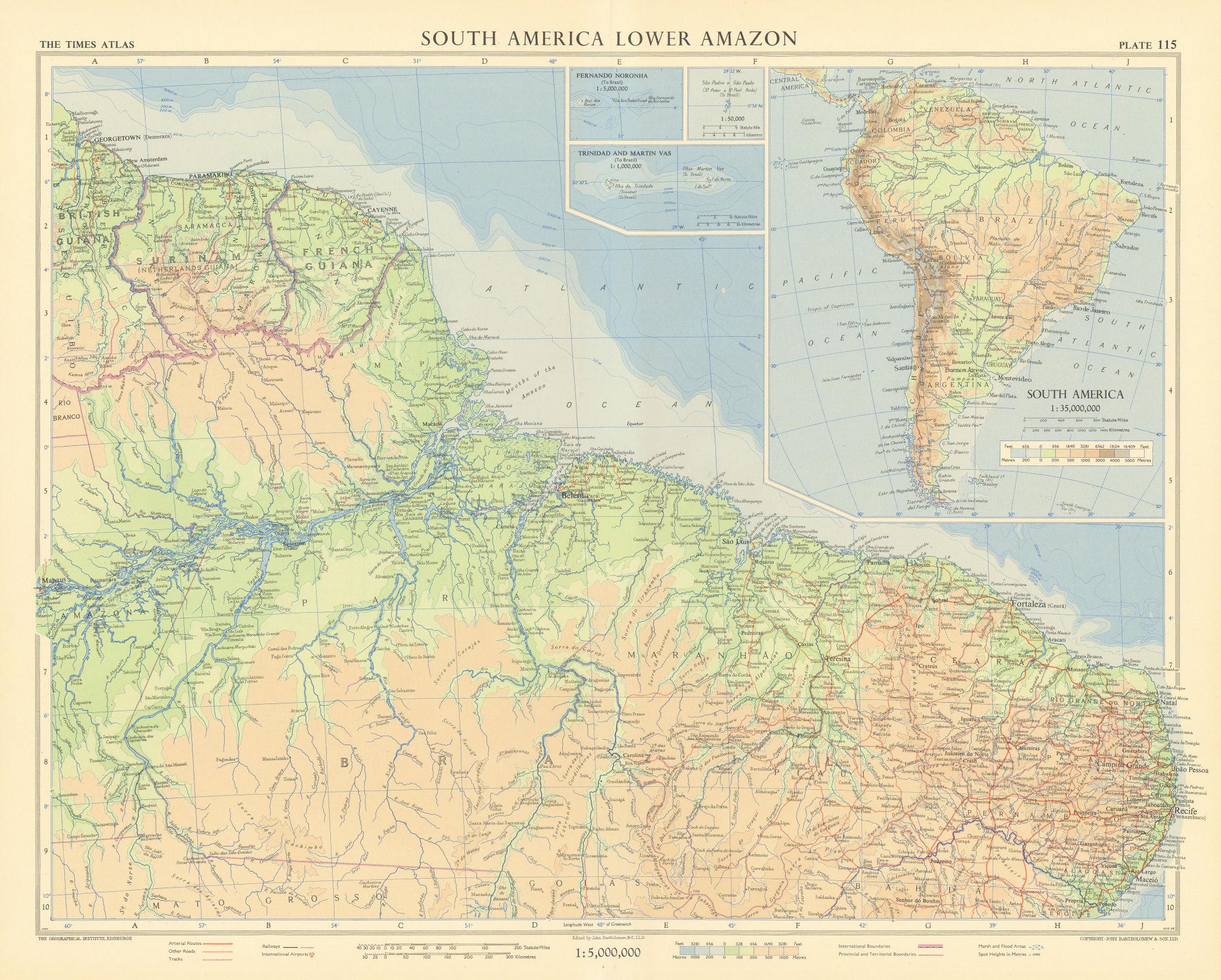 Northern Brazil. Lower Amazon. French Guiana & Surinam. TIMES 1957 old map