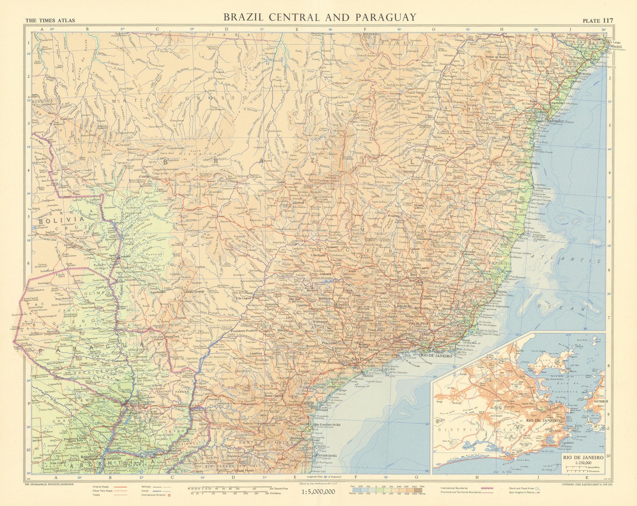 Brazil central & Paraguay. Rio de Janeiro environs. TIMES 1957 old vintage map