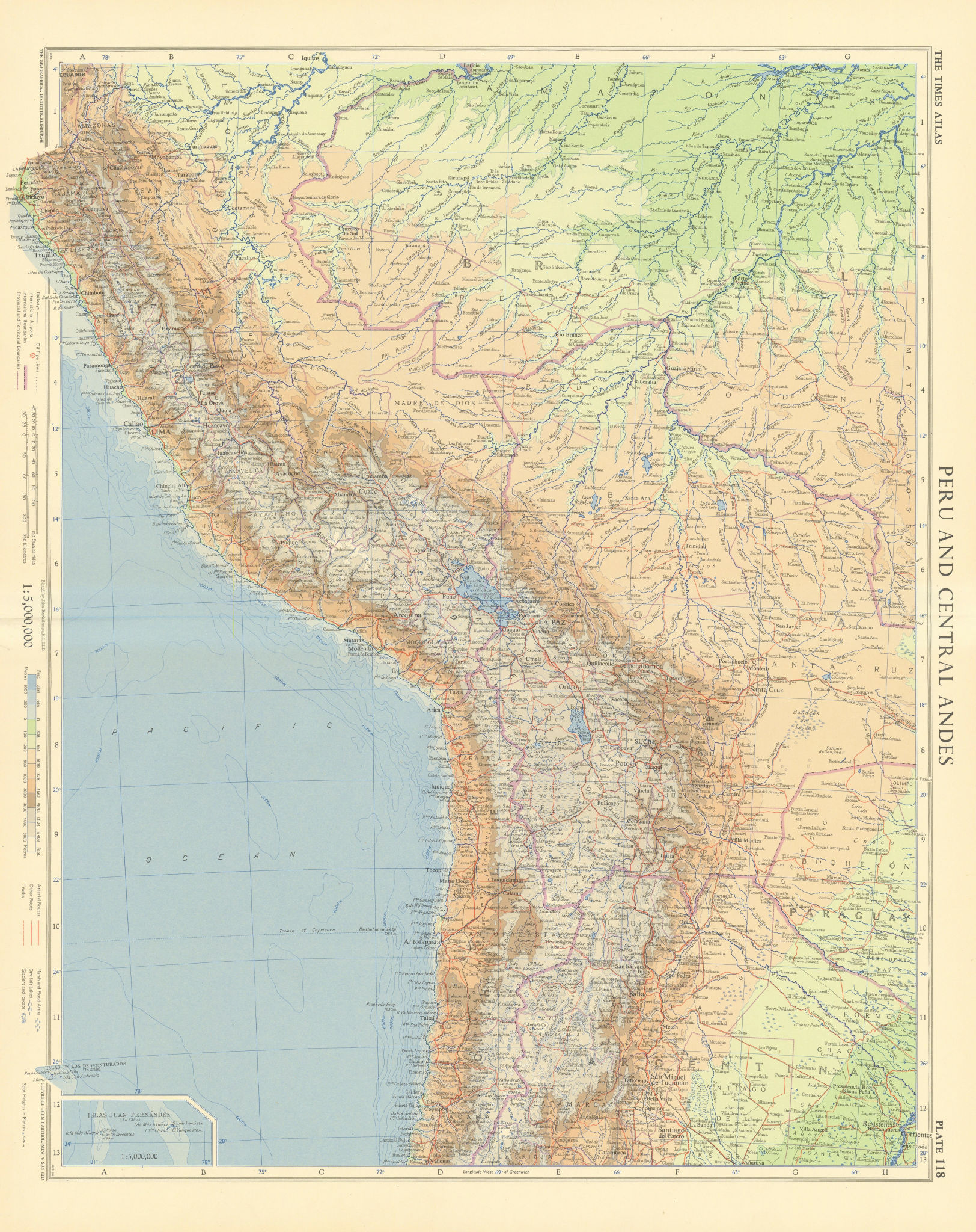Peru & central Andes. Bolivia Chile Amazonai. Andean States. TIMES 1957 map