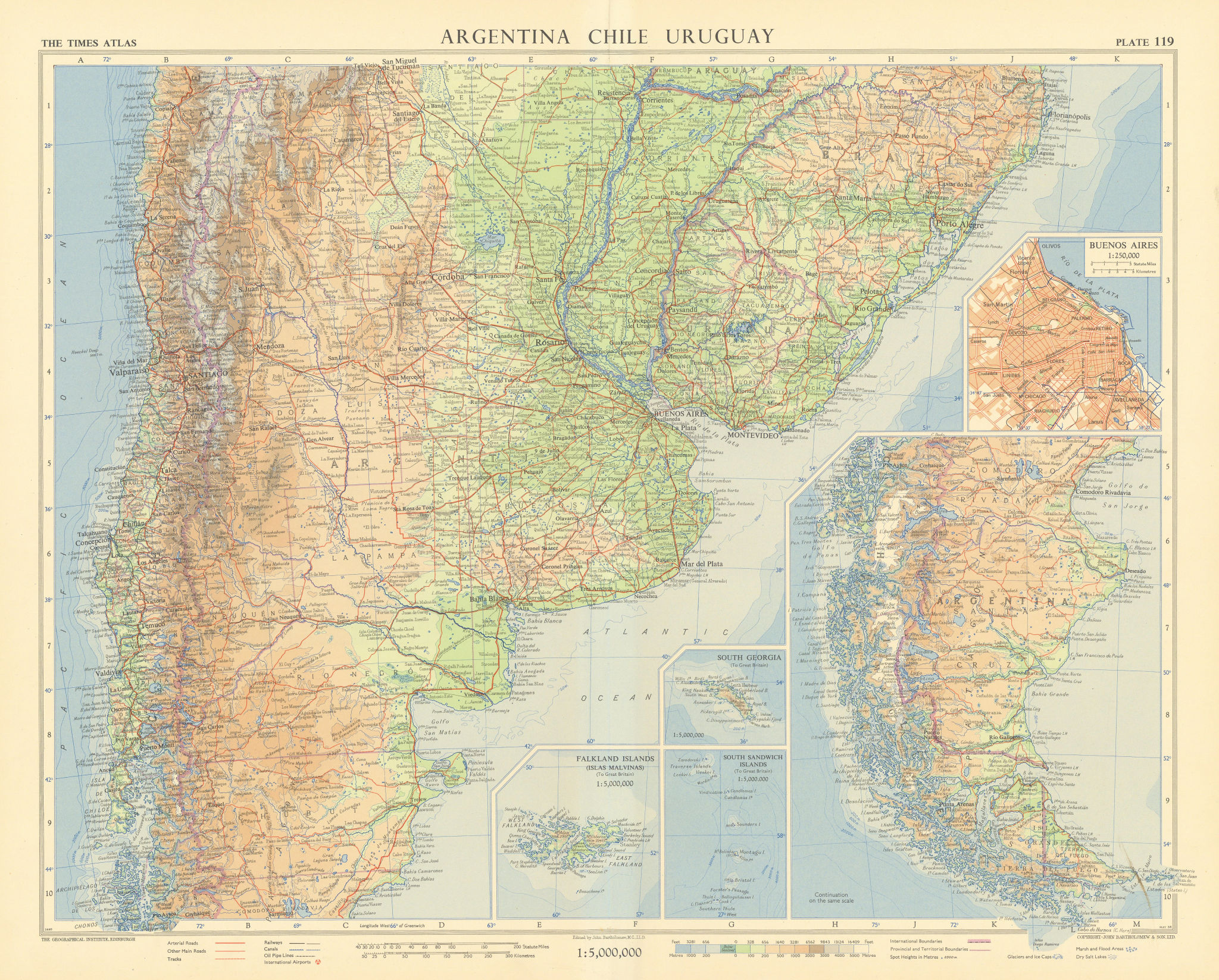 Argentina Chile Uruguay. Buenos Ayres plan. South America. TIMES 1957 old map