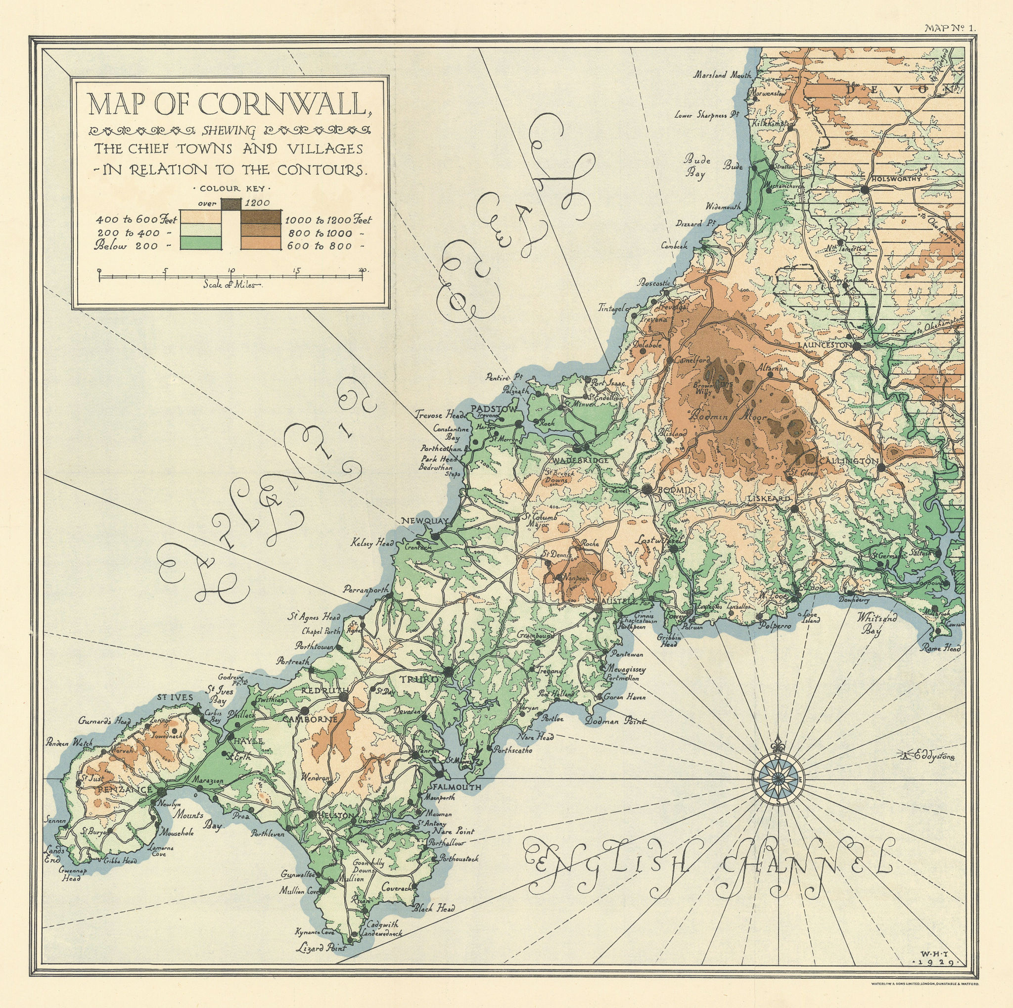 CORNWALL contours. Main towns & villages. HARDING THOMPSON 1930 old map