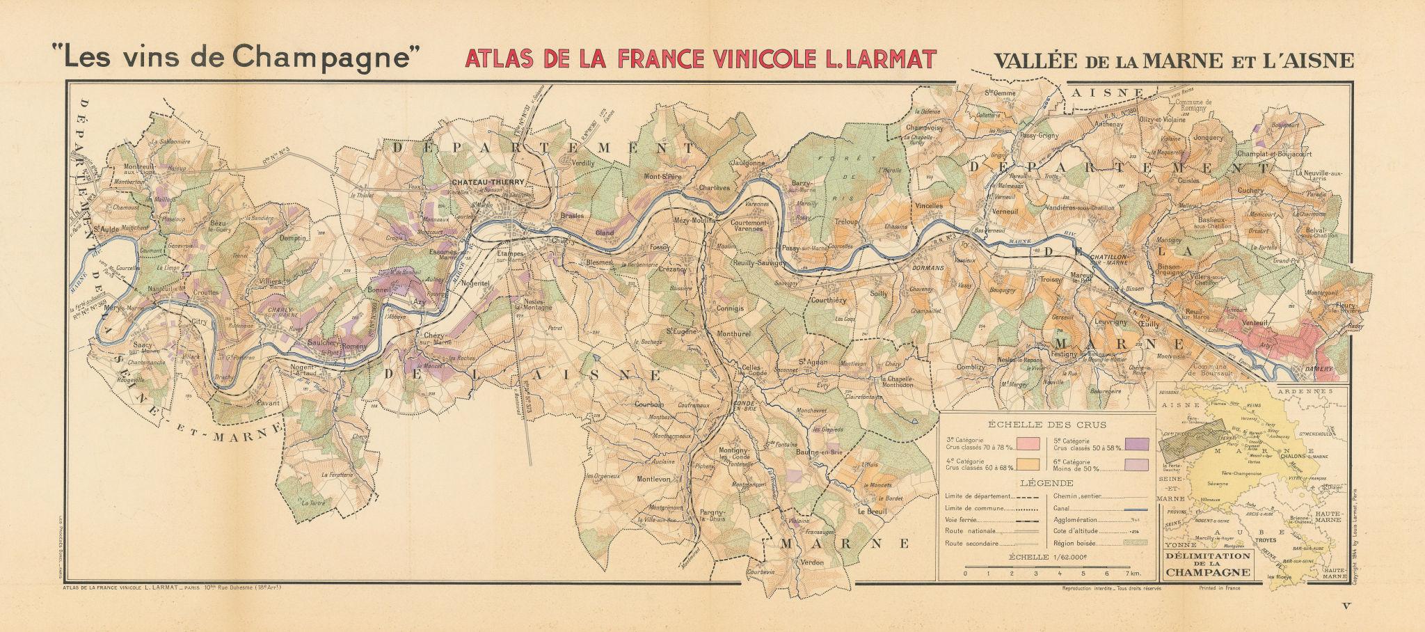 Associate Product CHAMPAGNE WINE MAP Vallée de la Marne et l'Aisne. Damery-St Aulde. LARMAT 1944