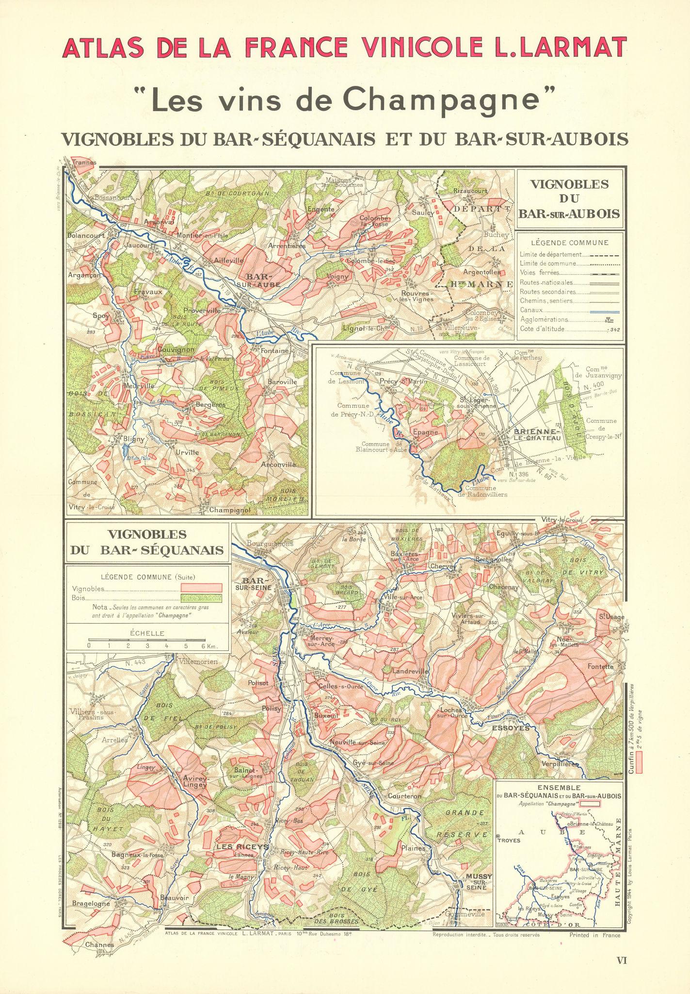 Associate Product CHAMPAGNE VINEYARD MAP Vignobles. Bar-Séquanais. Bar-sur-Aubois. LARMAT 1944