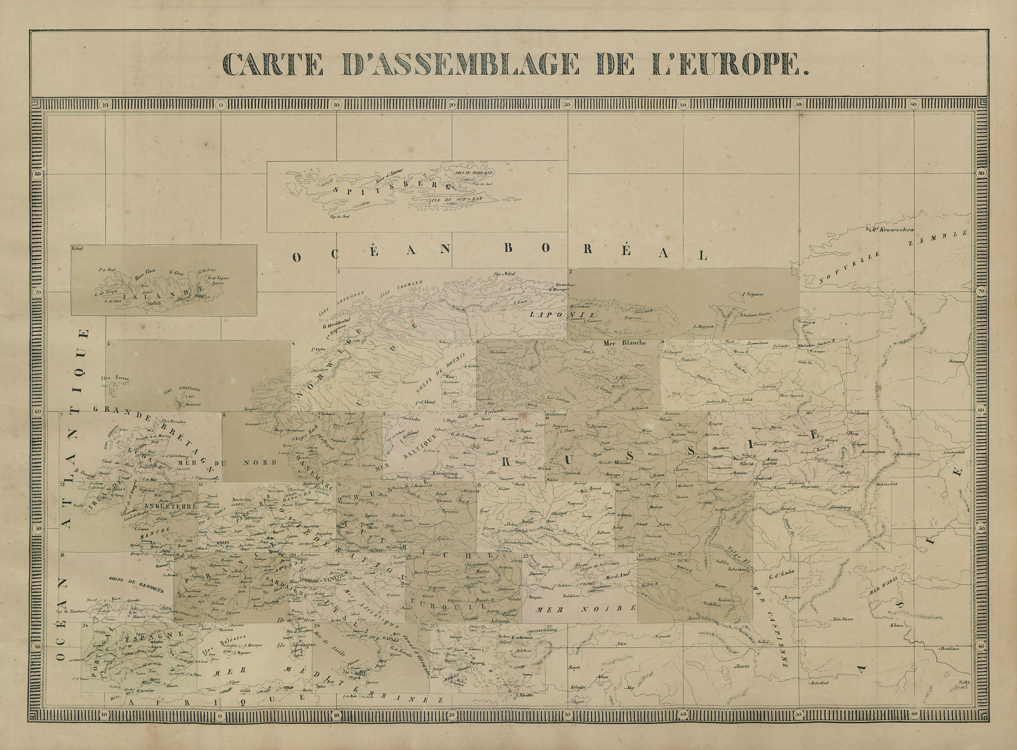 Carte d'Assemblage de l'Europe. Index map. VANDERMAELEN 1827 old antique