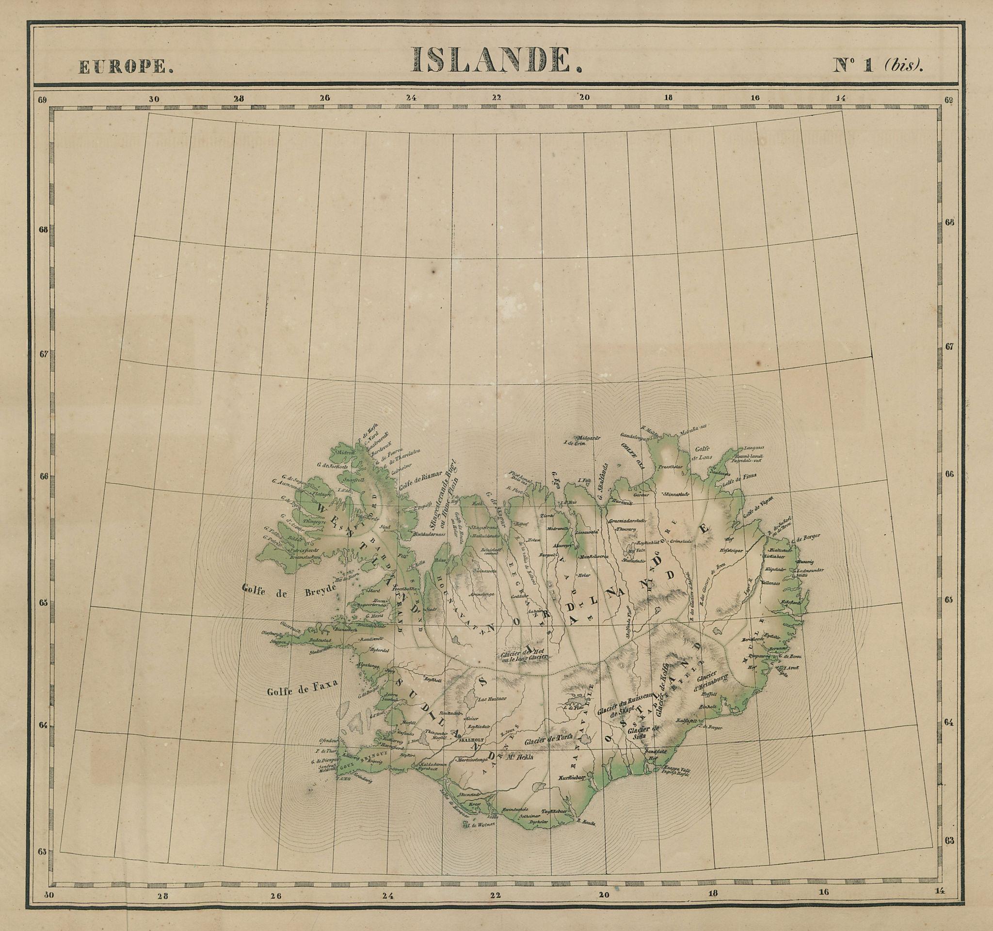 Europe. Islande #1 (bis) Iceland. VANDERMAELEN 1827 old antique map plan chart