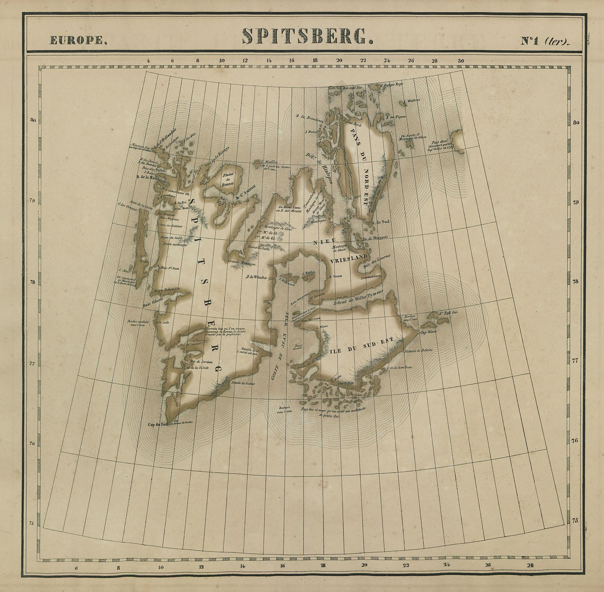 Europe. Spitsberg #1 (ter) Spitsbergen Svalbard Norway. VANDERMAELEN 1827 map