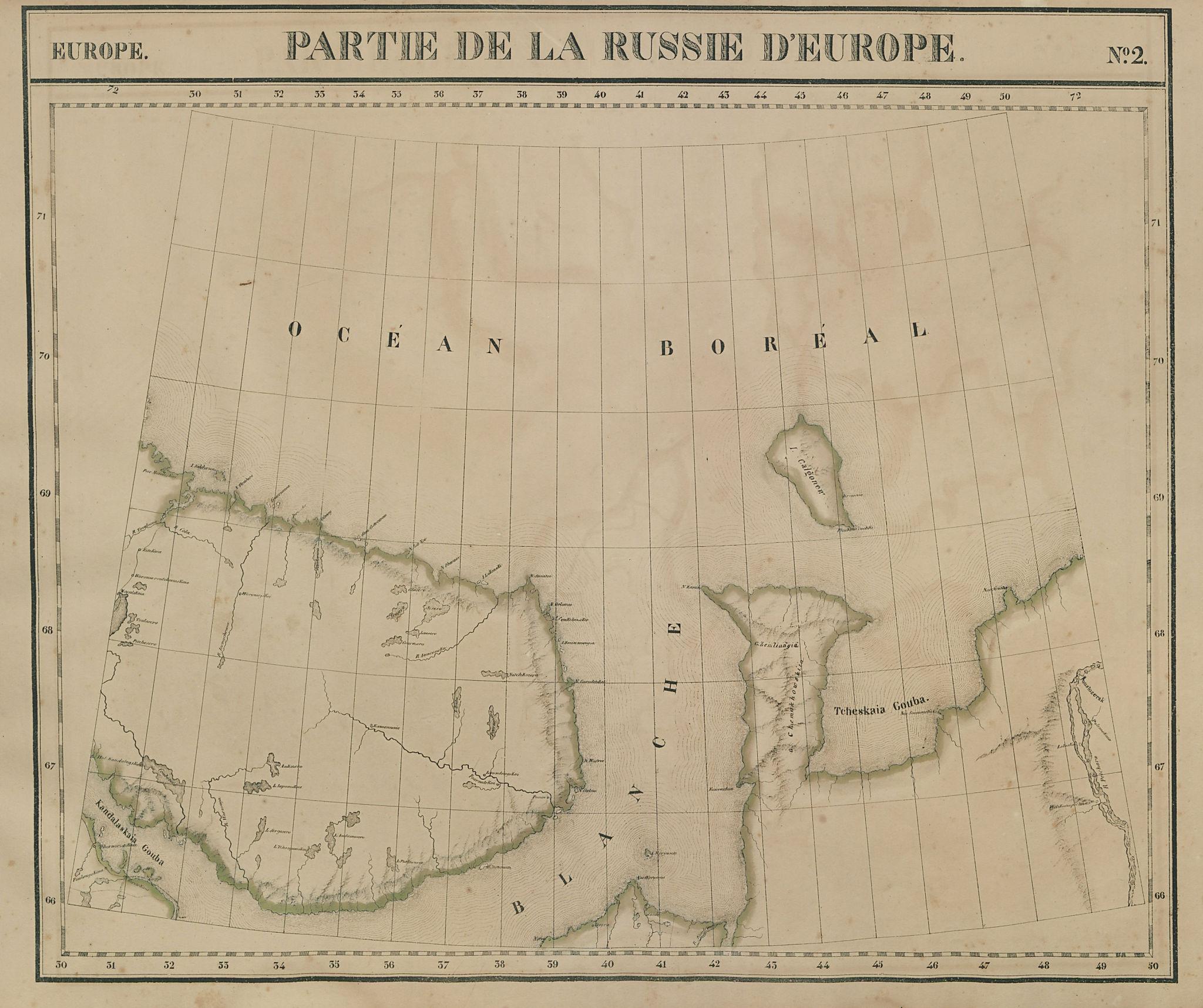 Russie d'Europe #2 Northwest Russia Murmansk Nenets VANDERMAELEN 1827 old map