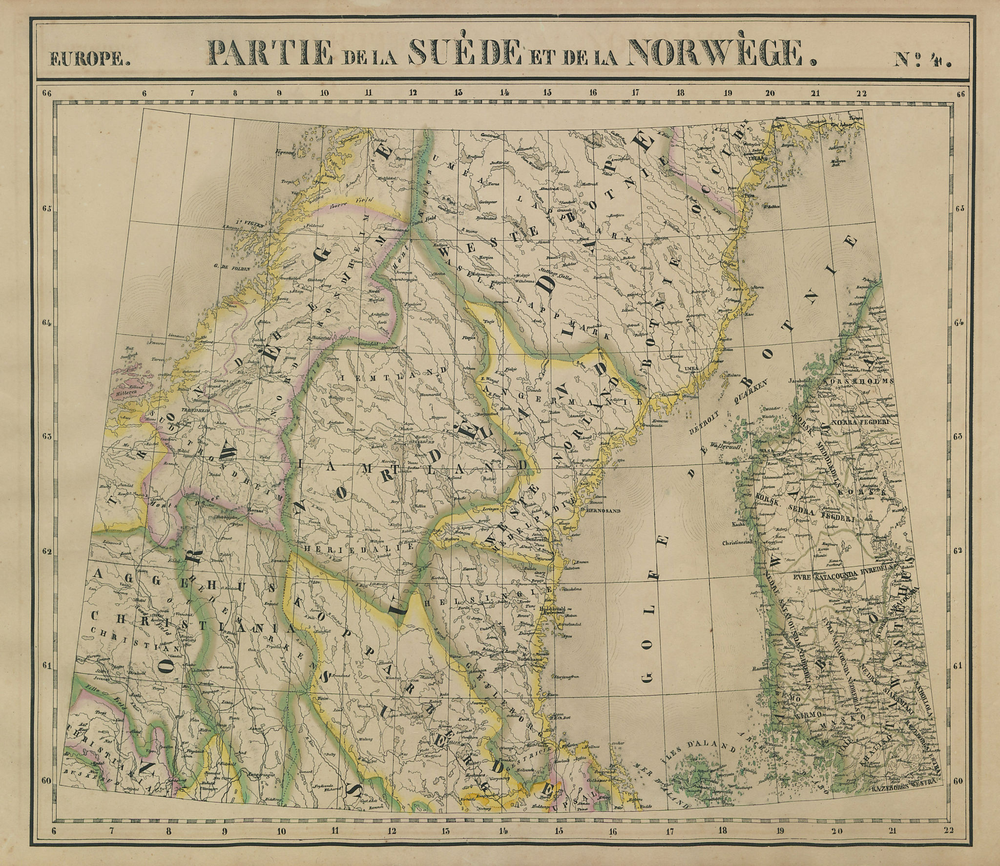 Europe. Suède & Norwège #4 Central Norway Sweden & Finland VANDERMAELEN 1827 map