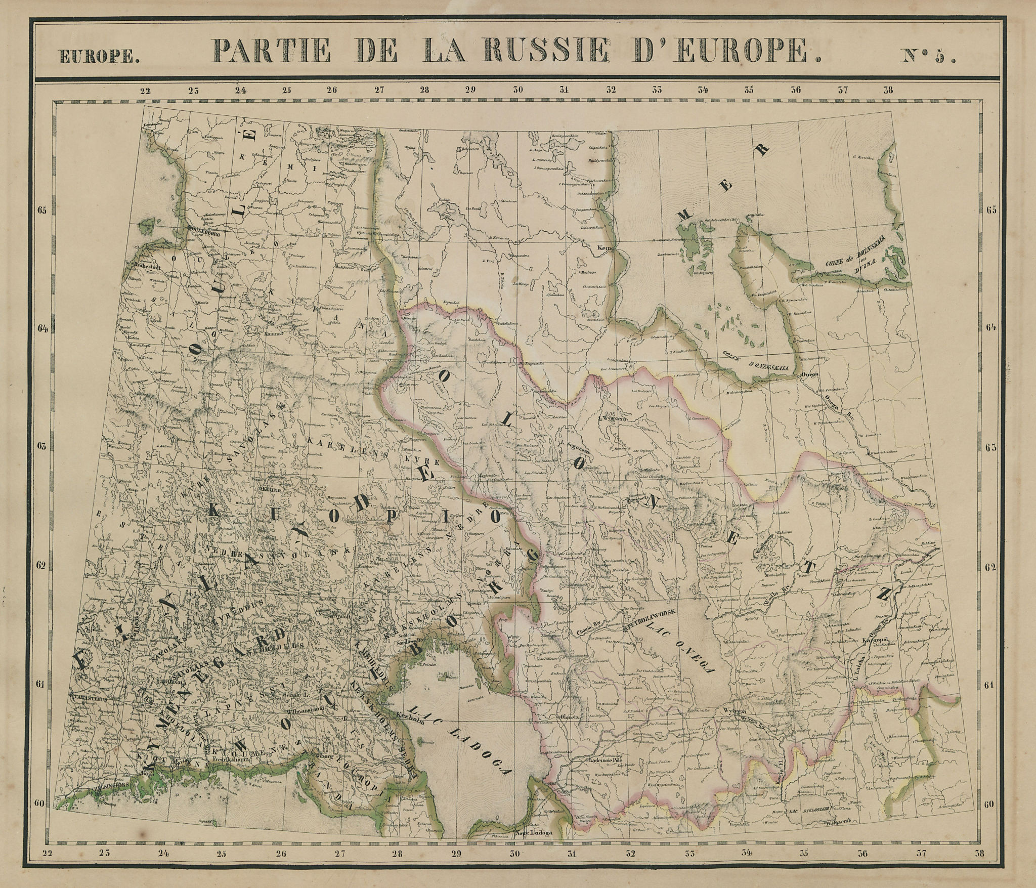 Russie d'Europe #5 Finland. Northwest Russia. Karelia. VANDERMAELEN 1827 map
