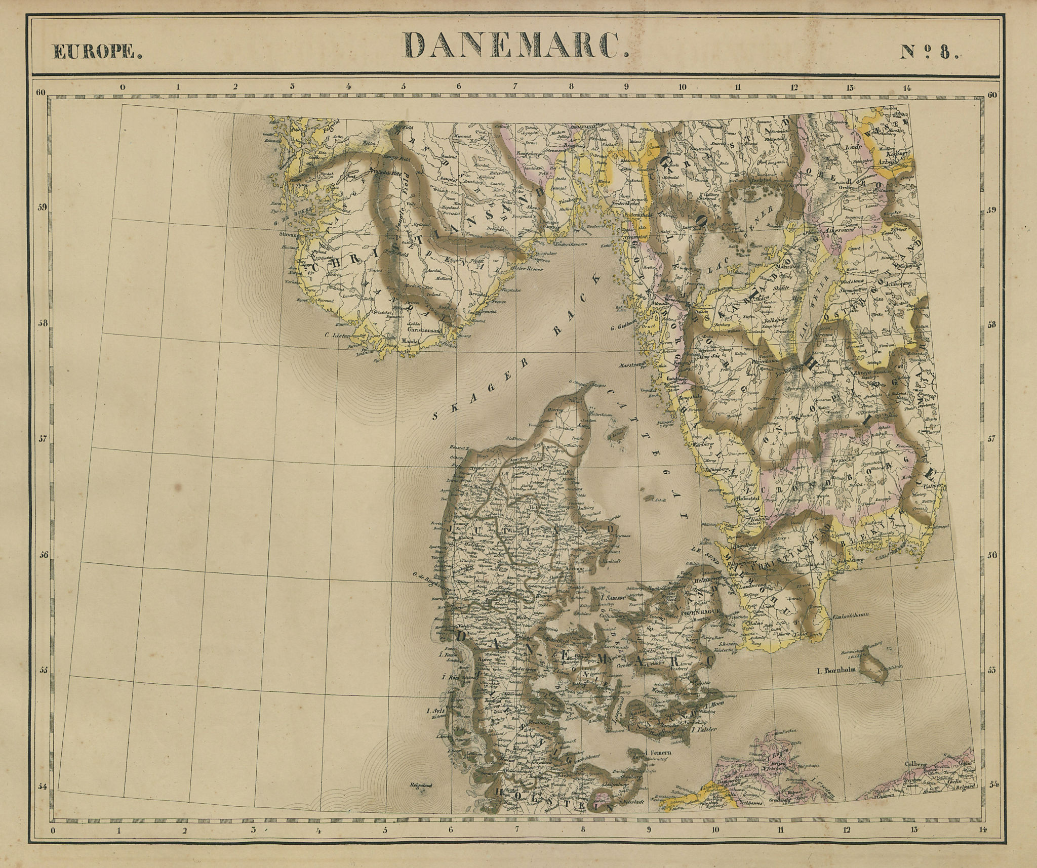Europe. Danemarc #8 Denmark. Southern Sweden & Norway. VANDERMAELEN 1827 map