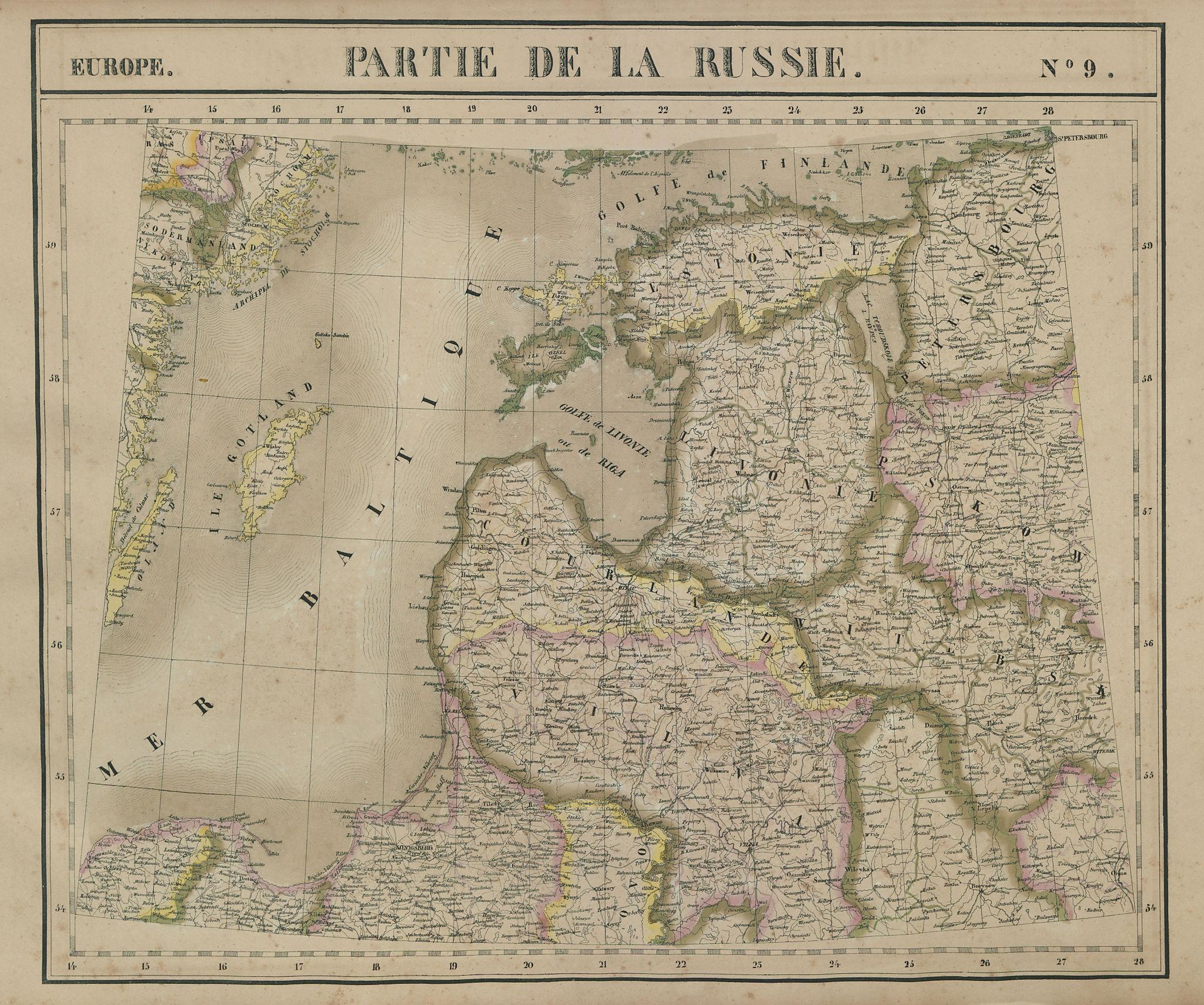 Europe. Russie #9 Baltic States. Estonia Latvia Lithuania. VANDERMAELEN 1827 map