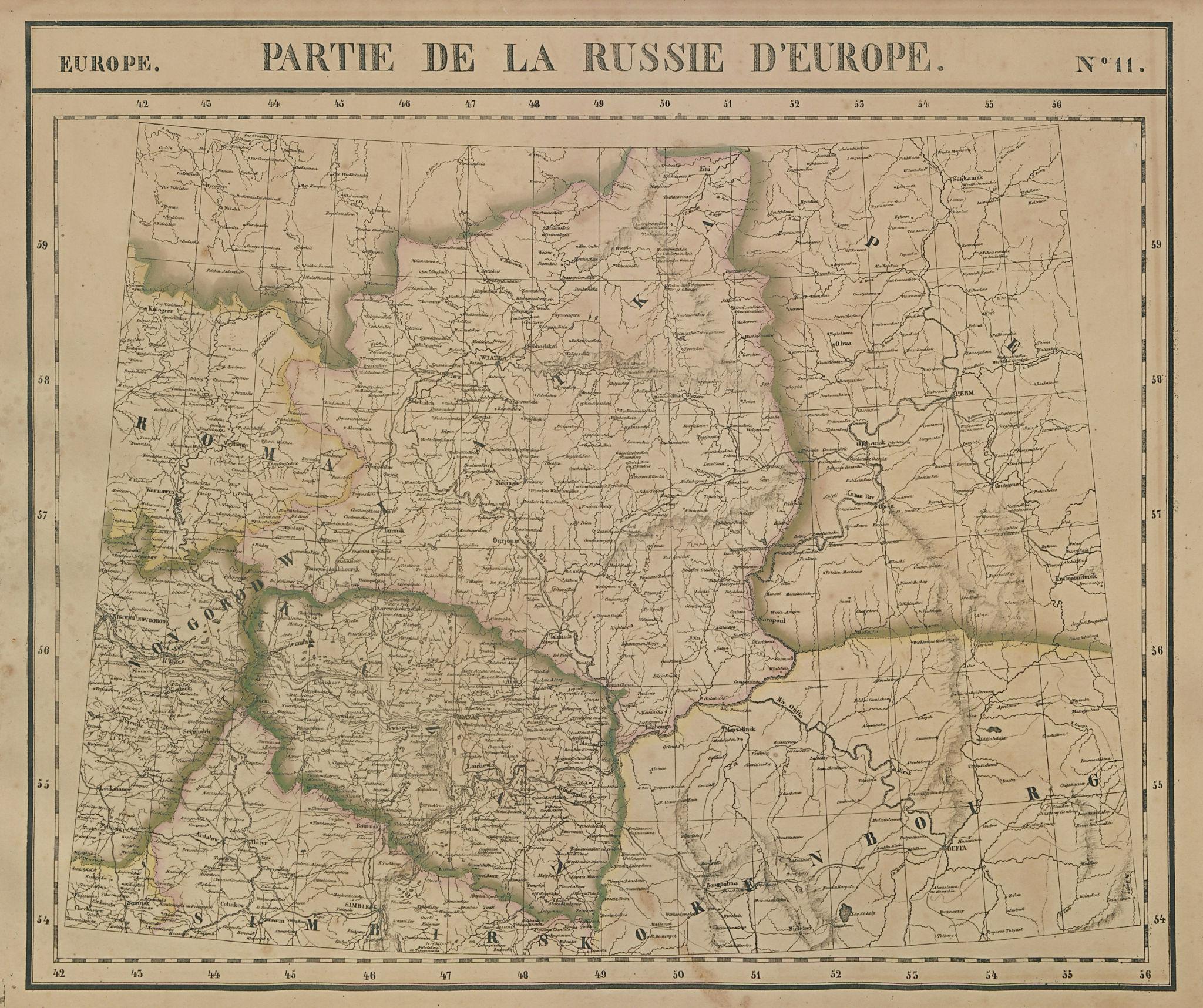 Russie d'Europe #11 Russia Kirov Perm Kazan Orenburg VANDERMAELEN 1827 old map