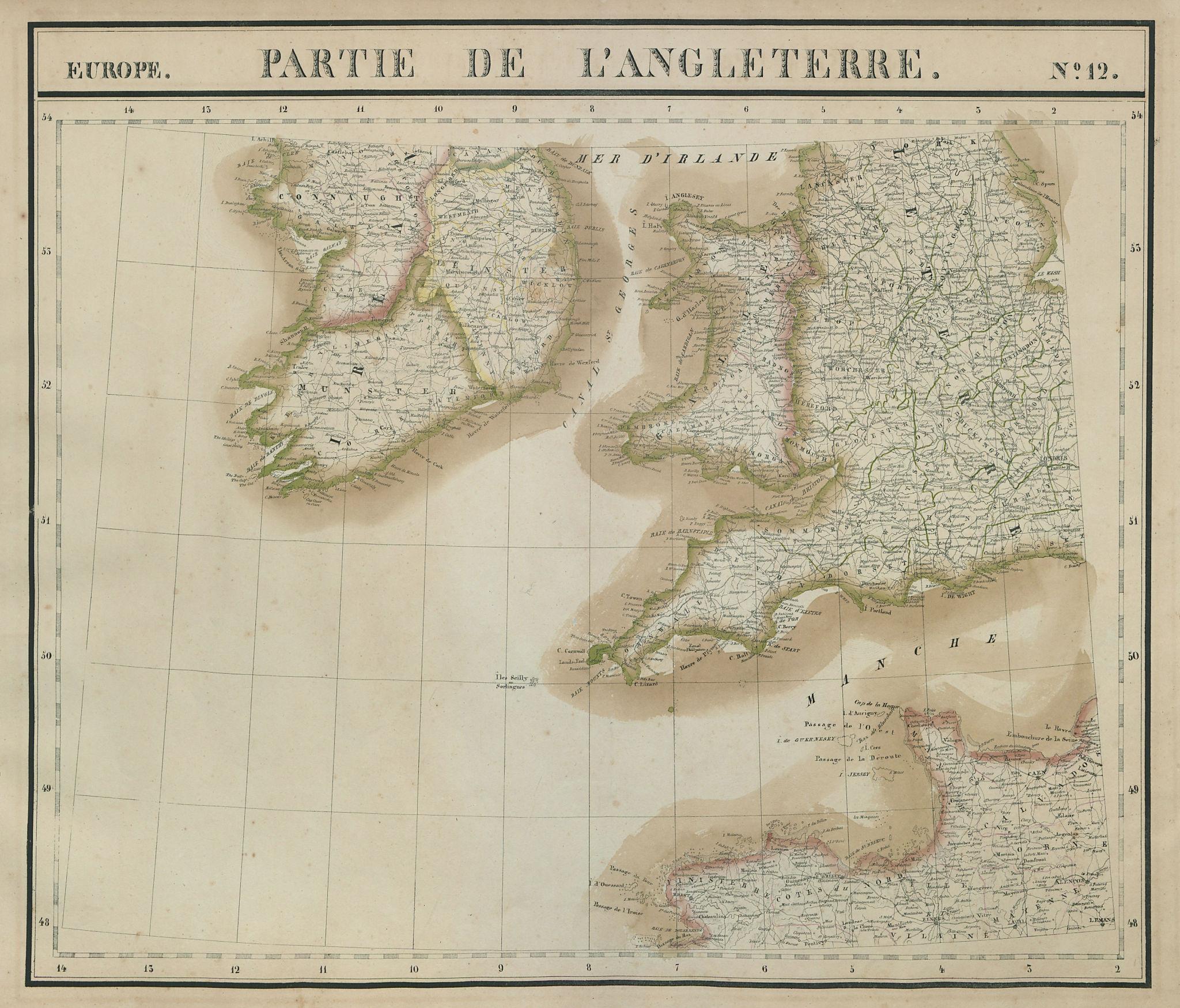 Europe. Angleterre #12 Wales Southern England & Ireland. VANDERMAELEN 1827 map