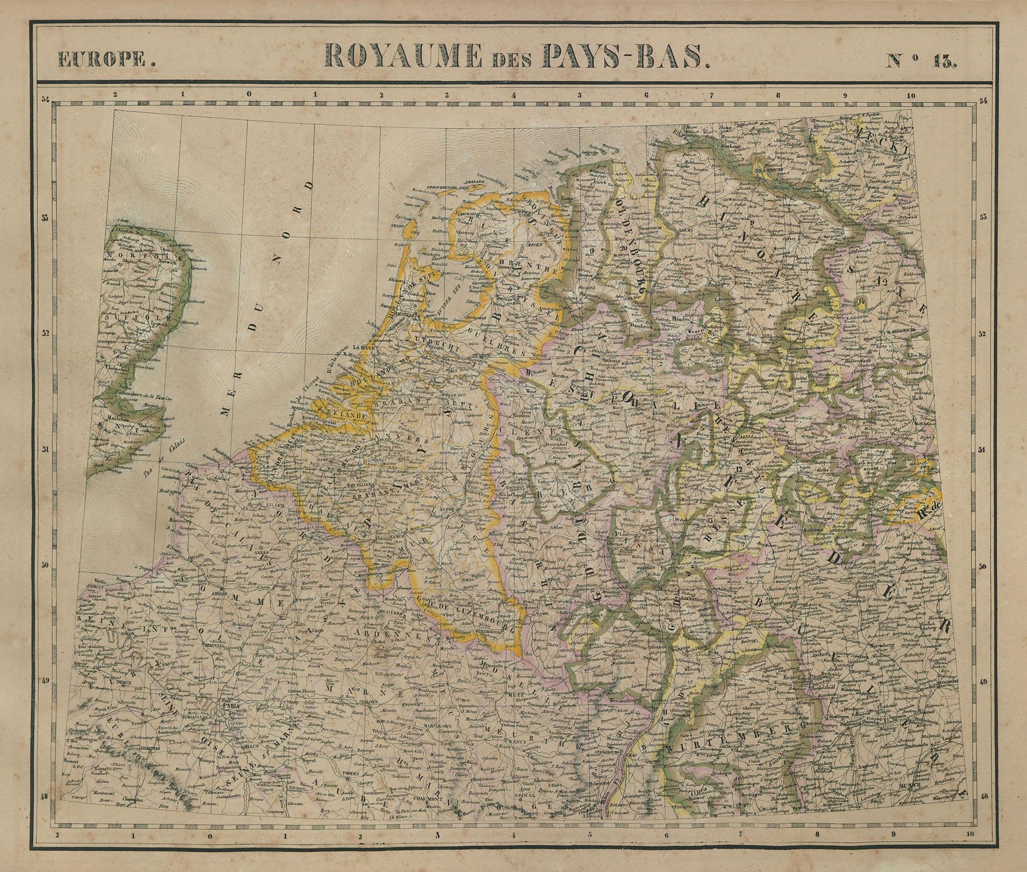 Europe. Royaume des Pays-Bas #13 NW Europe Benelux Germany VANDERMAELEN 1827 map