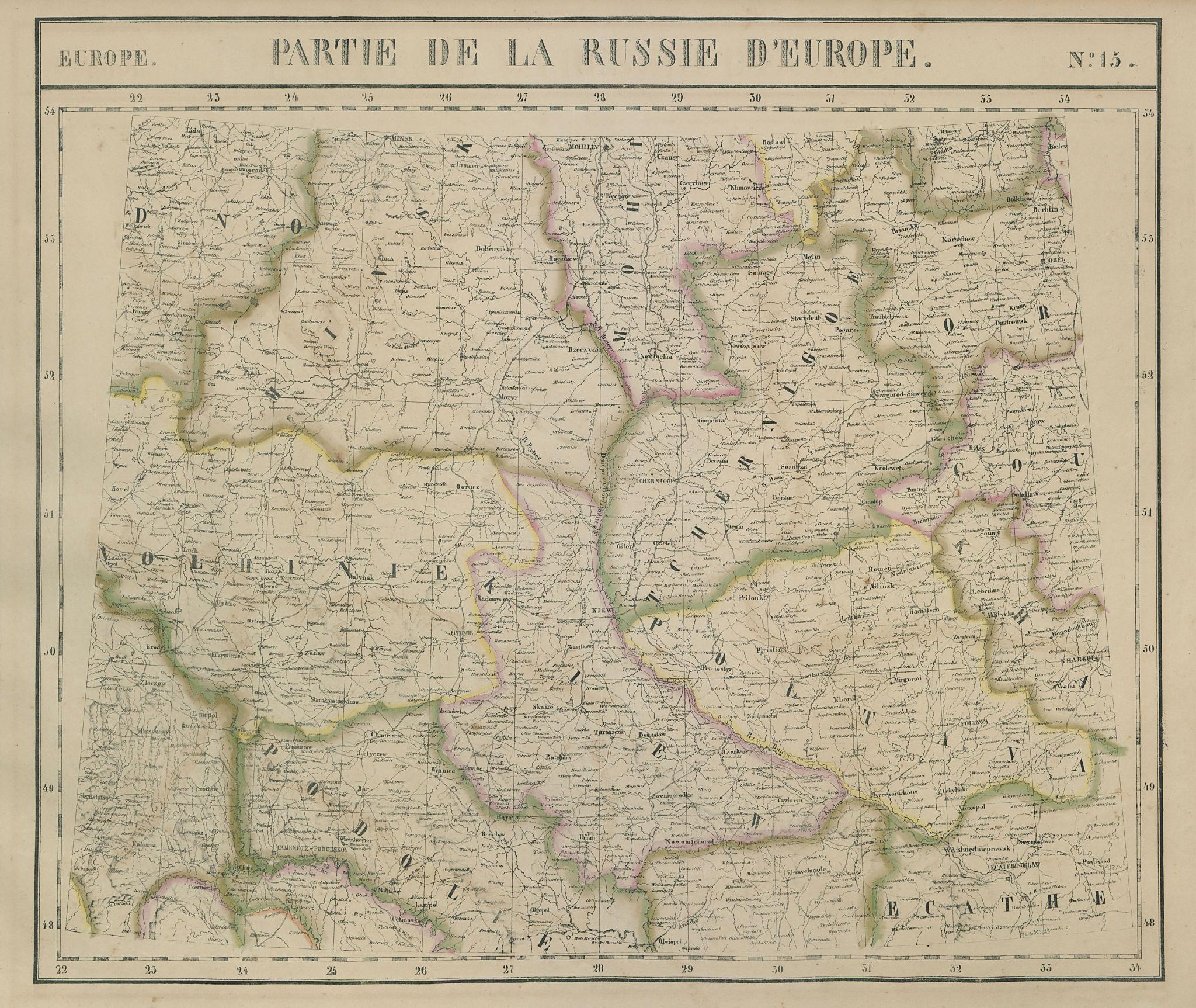 Russie d'Europe #15 Northern Ukraine. Southern Belarus. VANDERMAELEN 1827 map