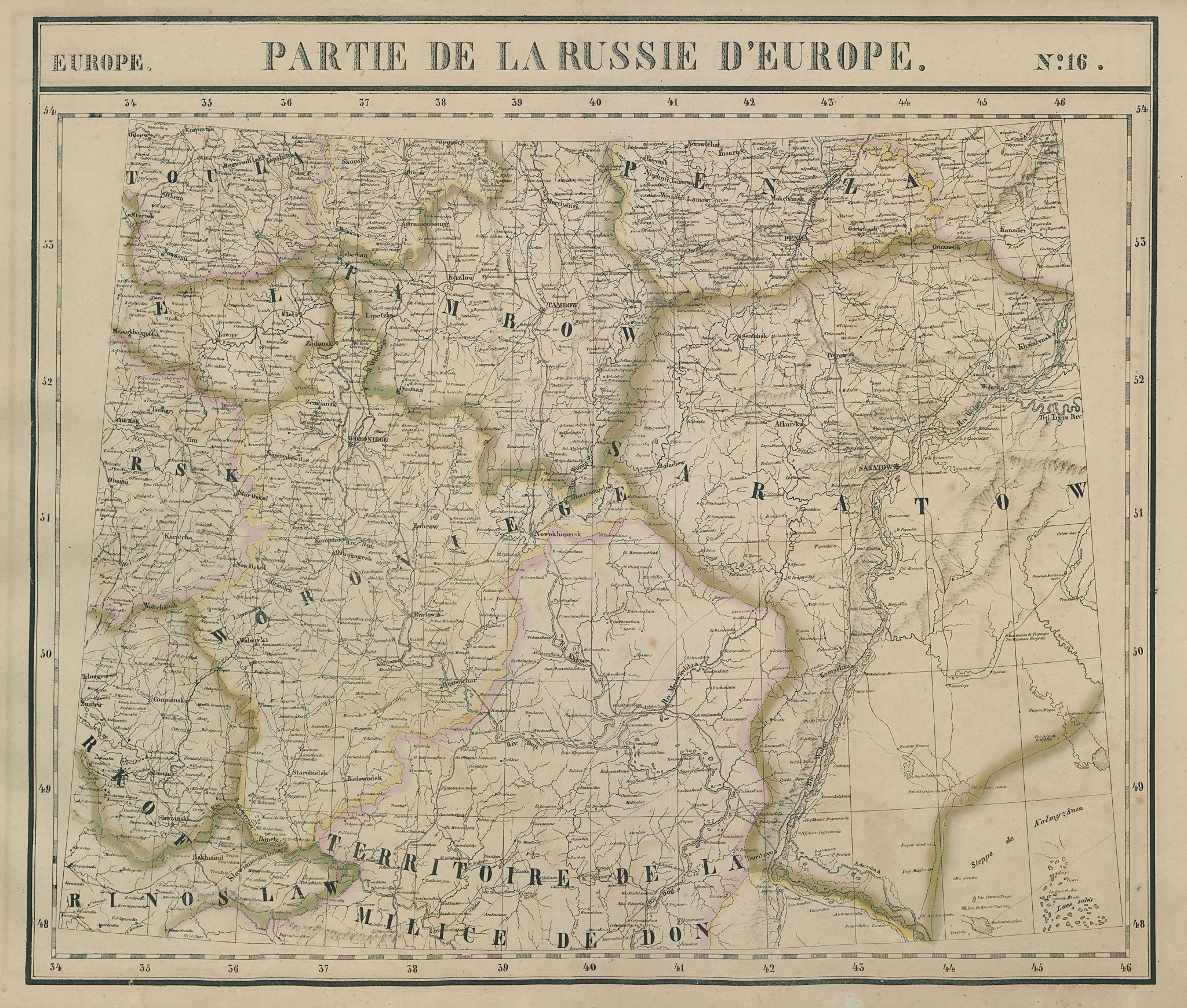 Russie d'Europe #16 Southern Russia. Eastern Ukraine Volga VANDERMAELEN 1827 map