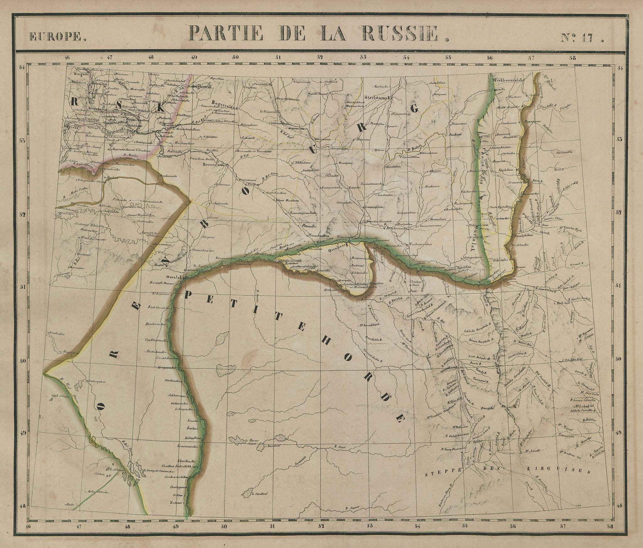 Europe. Russie #17 Ural River Southern Russia Kazakhstan. VANDERMAELEN 1827 map