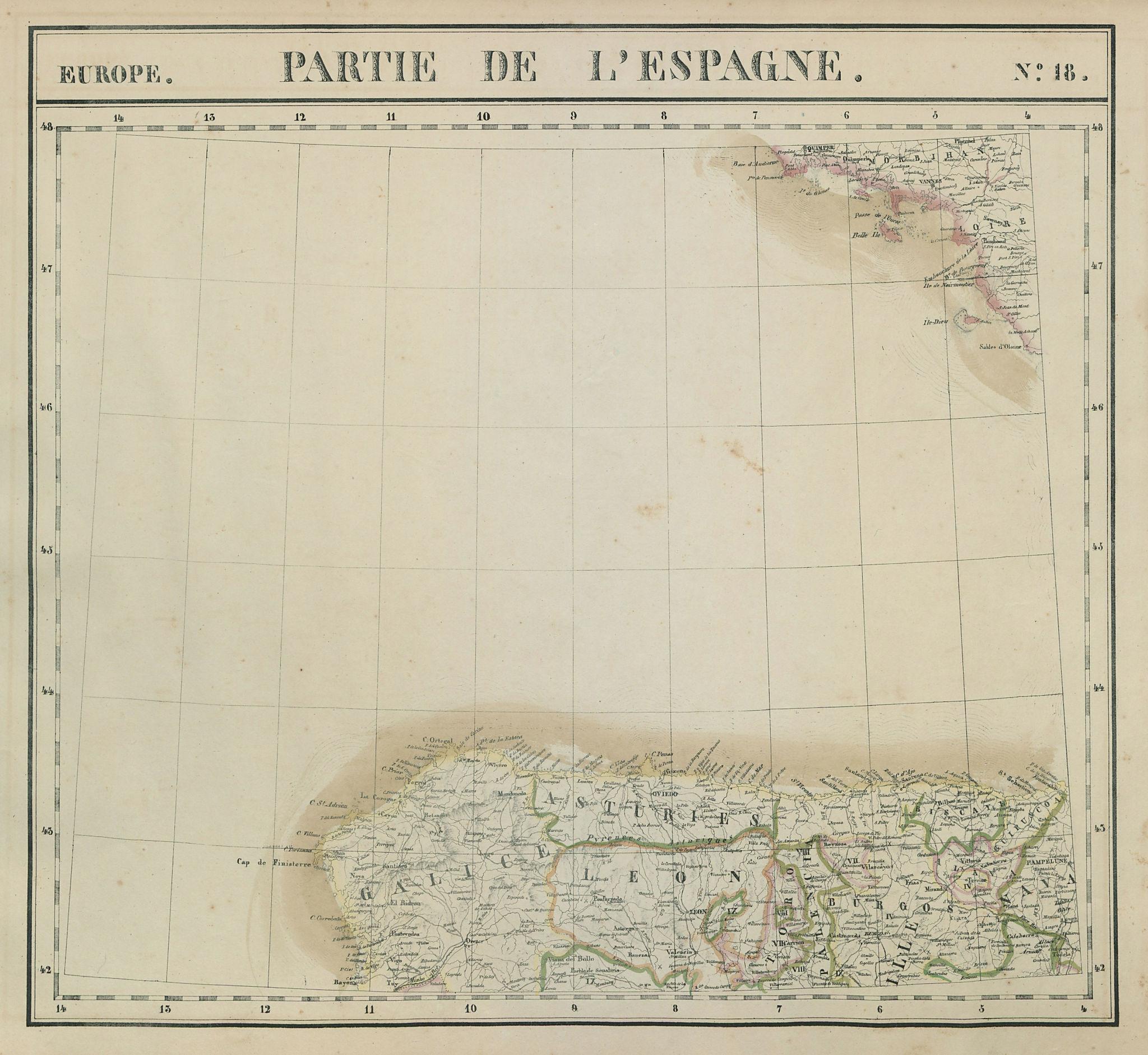 Europe. Espagne #18 NW Spain. Galicia Asturias Cantabria. VANDERMAELEN 1827 map
