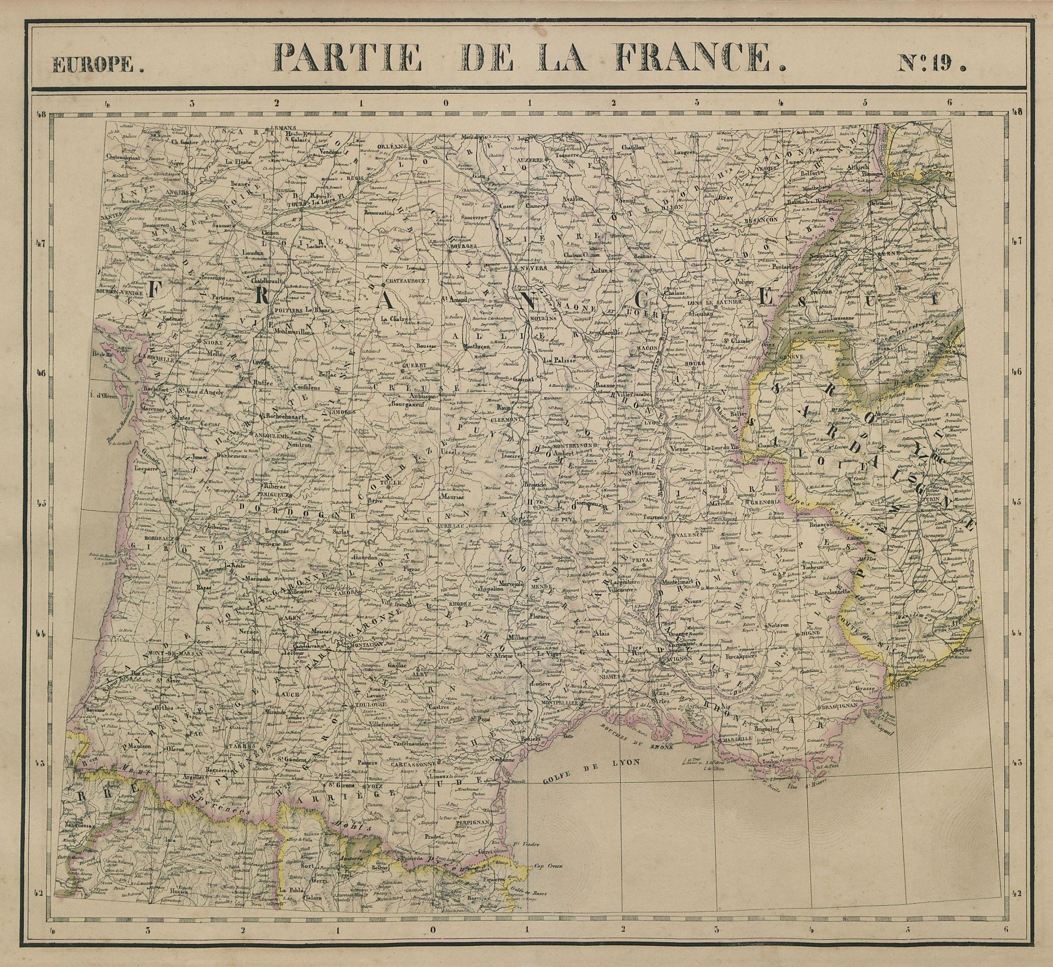 Europe. France #19 Southern France & Savoie. VANDERMAELEN 1827 old antique map