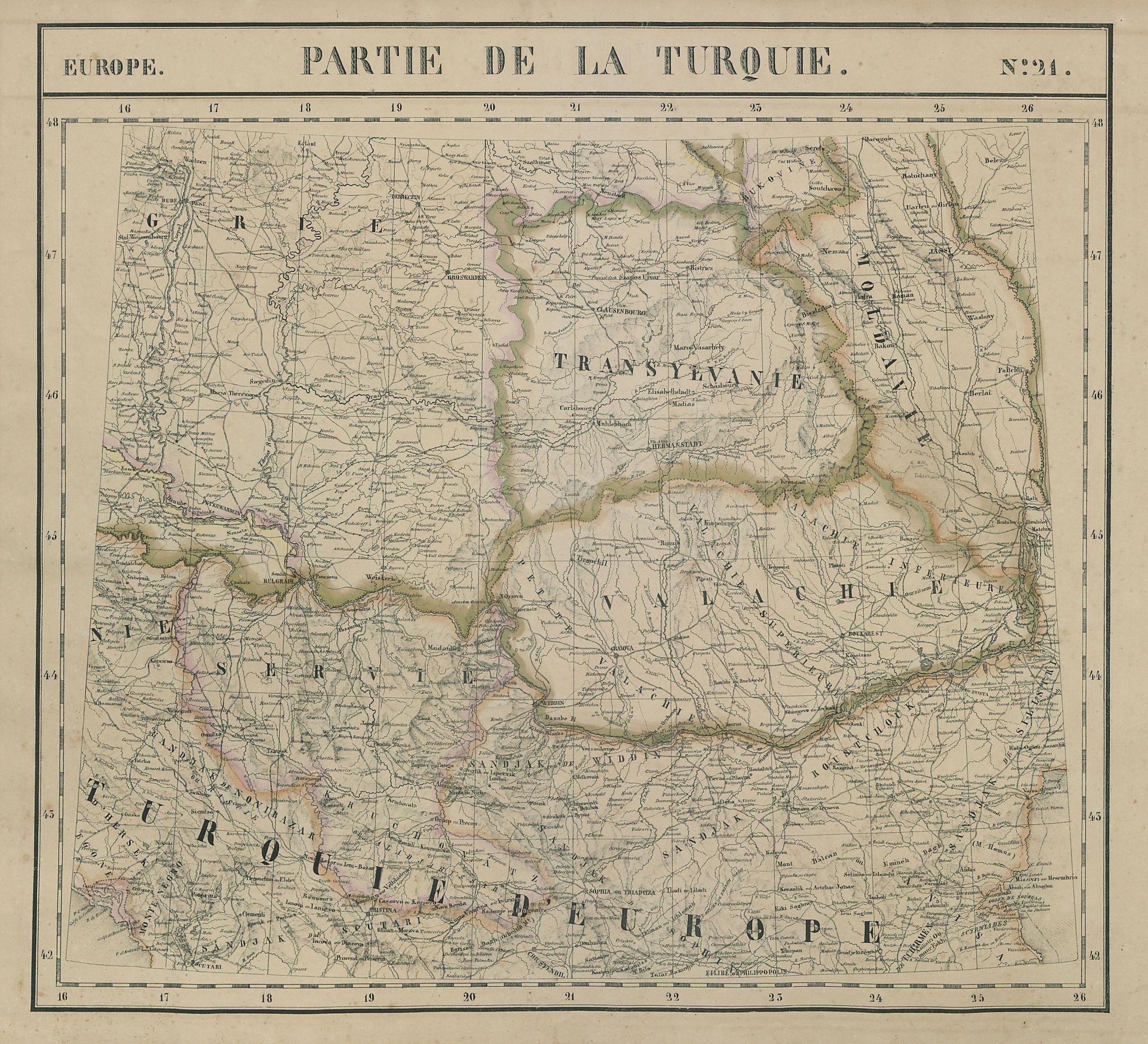 Europe. Turquie #21 Romania Serbia Montenegro Bulgaria. VANDERMAELEN 1827 map