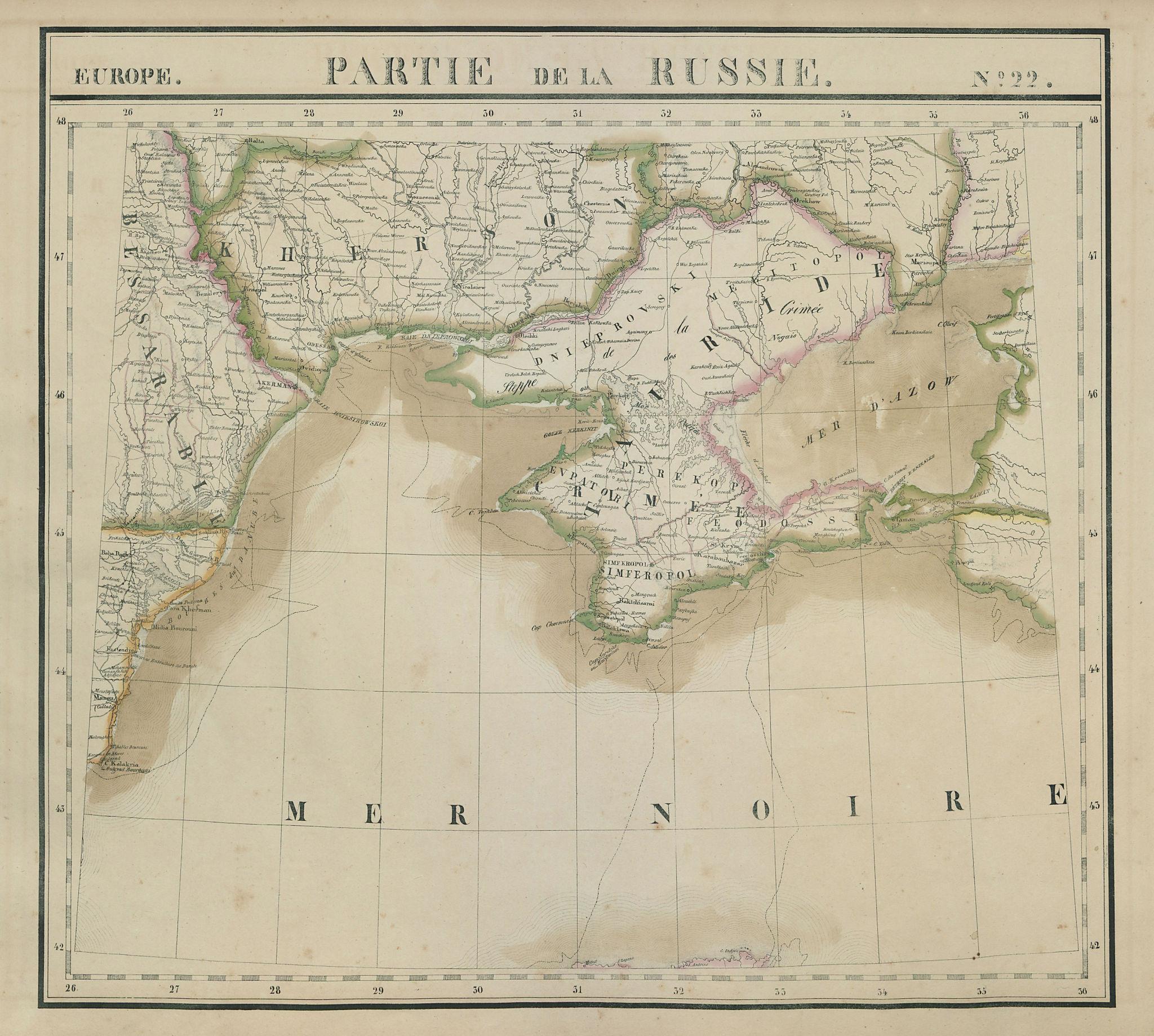 Europe. Russie #22 Southern Ukraine Crimea Krasnodar. VANDERMAELEN 1827 map