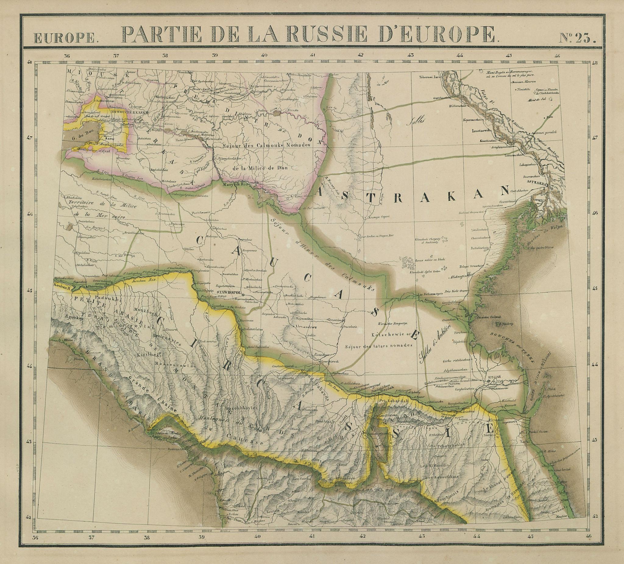 Russie d'Europe #23 North Caucasus Russia Georgia VANDERMAELEN 1827 old map