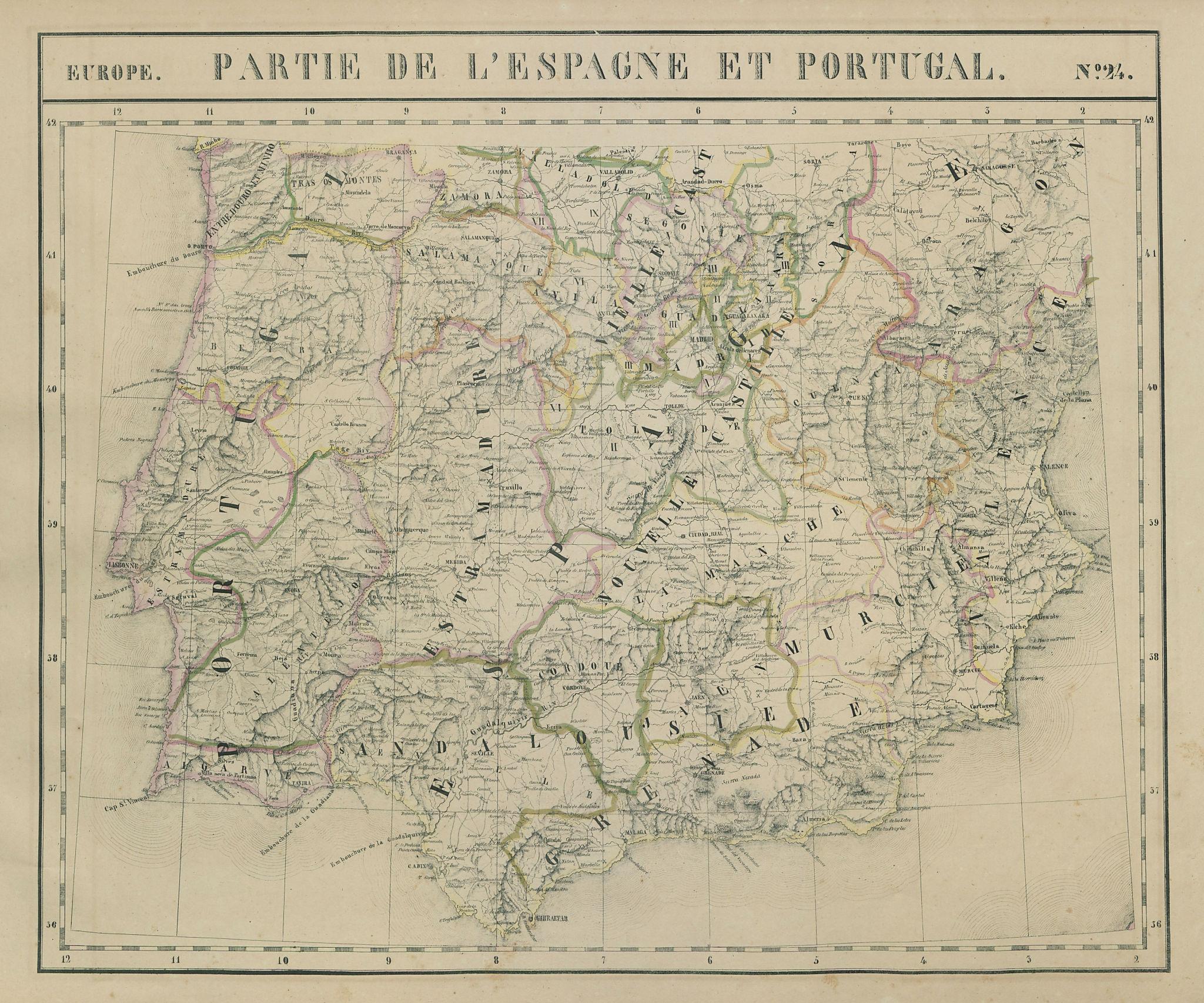 Europe. Espagne & Portugal #24 Southern Spain Portugal. VANDERMAELEN 1827 map