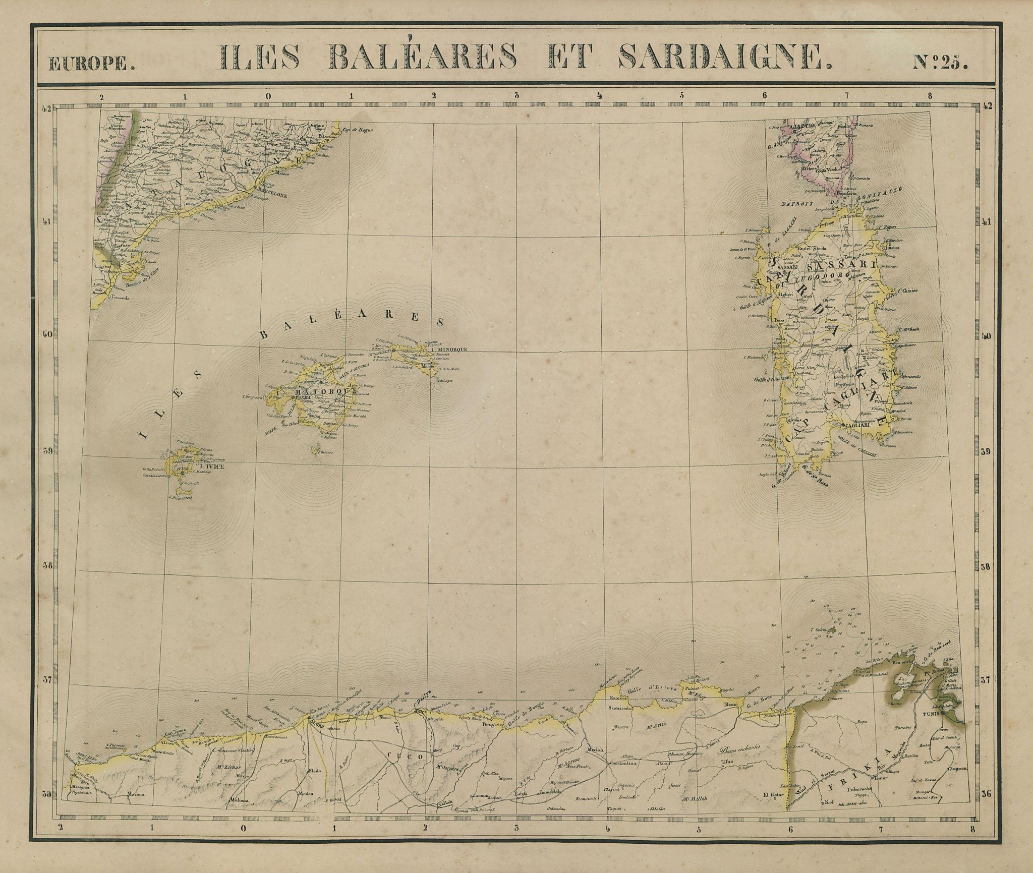 Europe. Iles Baléares & Sardaigne #25 Sardinia Balearics VANDERMAELEN 1827 map