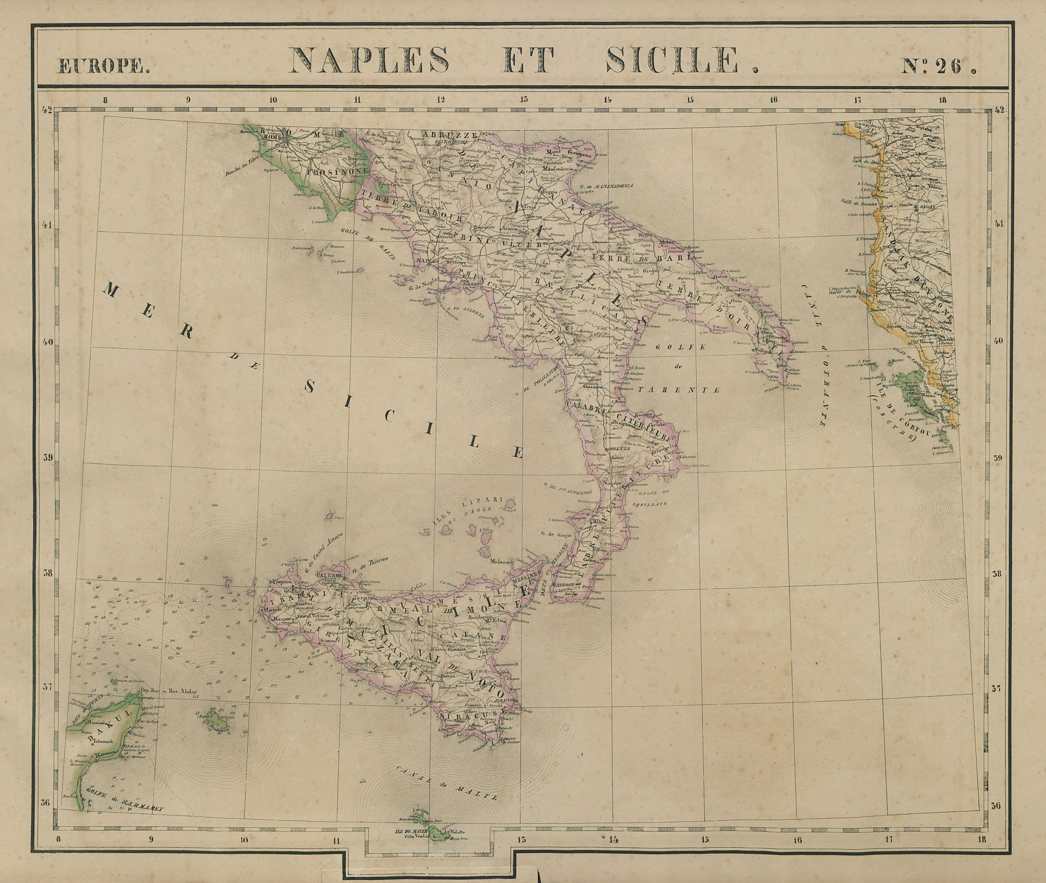 Europe. Naples & Sicile #26 Southern Italy Sicily Albania. VANDERMAELEN 1827 map