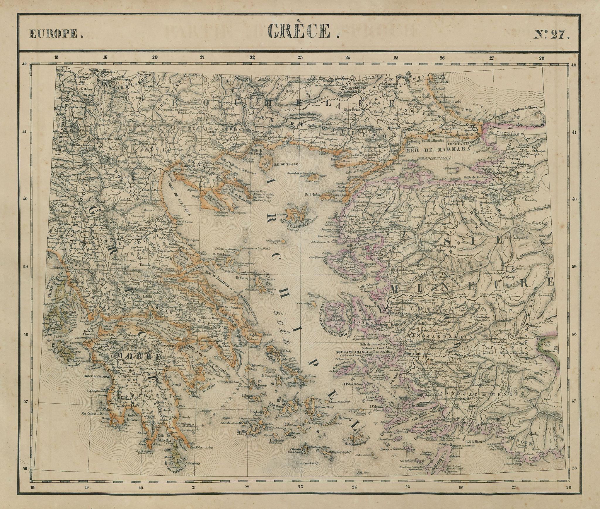 Europe. Grèce #27 Greece, Aegean & western Turkey. VANDERMAELEN 1827 old map