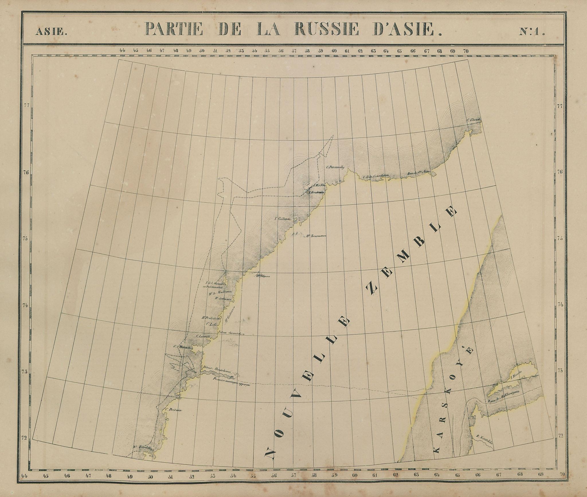 Russie d'Asie #1 Russia. Novaya Zemlya. Explorers' routes VANDERMAELEN 1827 map