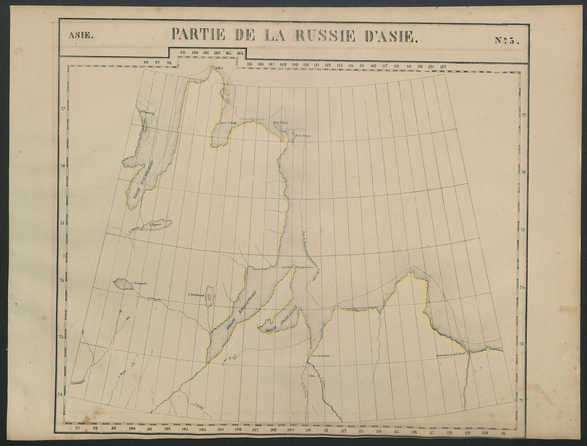 Russie d'Asie #3 Russia. Taymyr Peninsula & Laptev Sea. VANDERMAELEN 1827 map