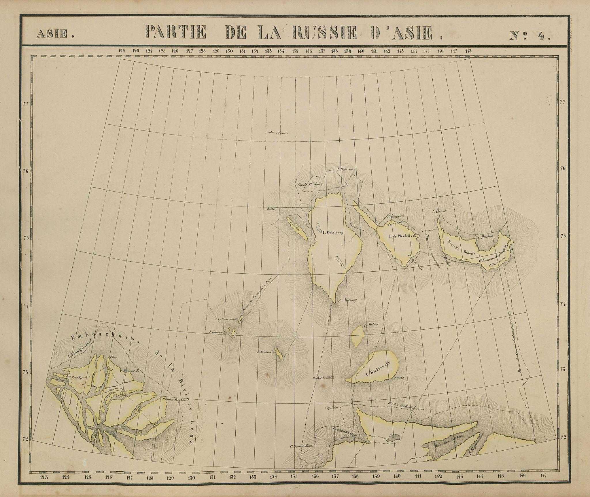 Russie d'Asie #4 Russia. Lena delta & New Siberian Islands VANDERMAELEN 1827 map