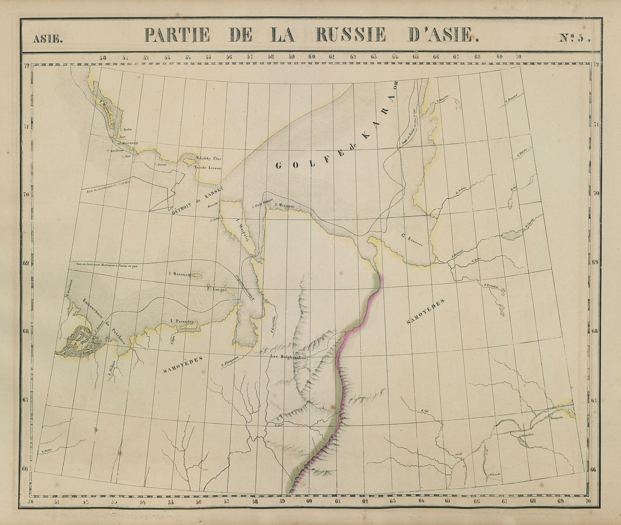 Russie d'Asie #5 Russia. Novaya Zemlya Nenetsia Yamalia. VANDERMAELEN 1827 map