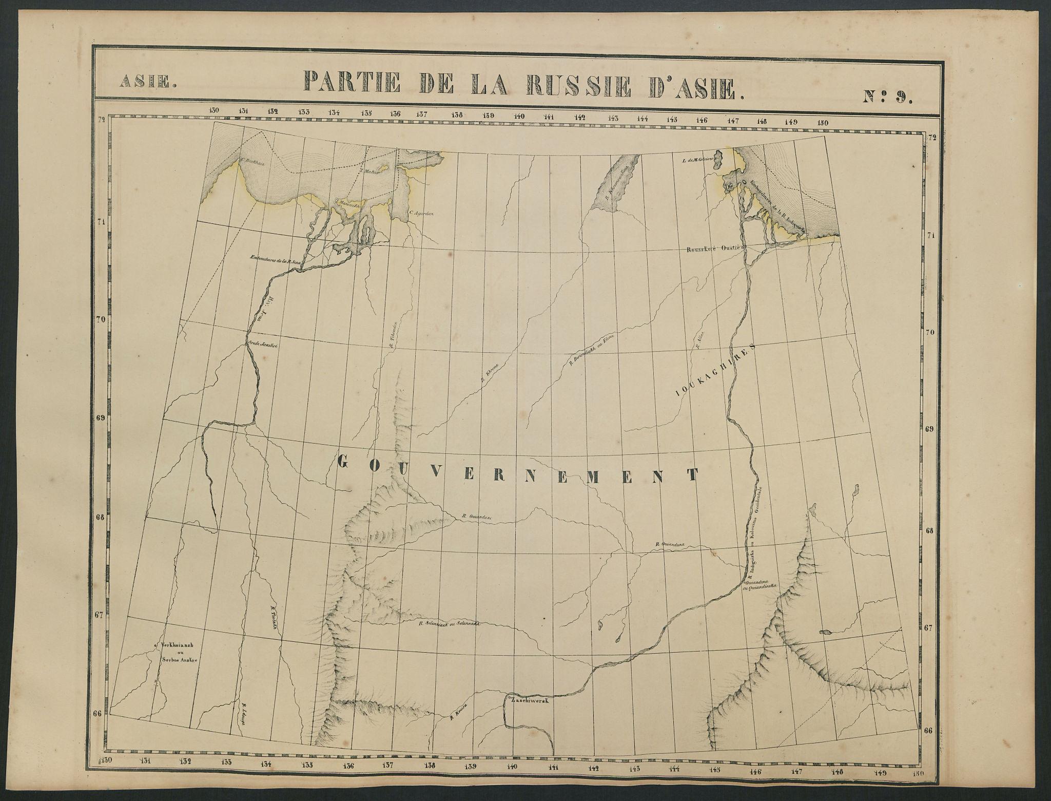 Russie d'Asie #9. Indigirka & Yana riverS. Sakha Russia. VANDERMAELEN 1827 map