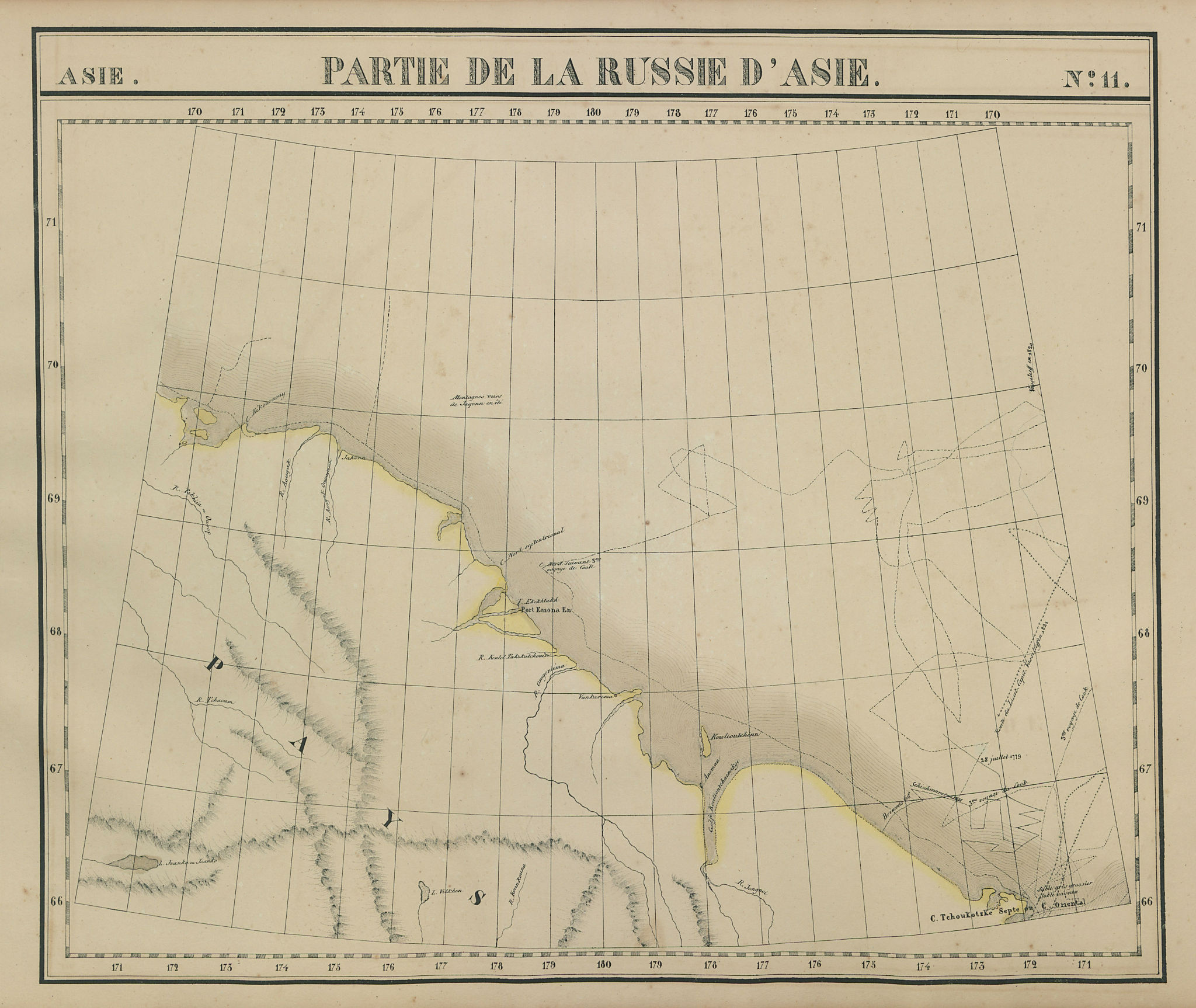 Russie d'Asie #11 Russia. Chukchi Peninsula & sea. VANDERMAELEN 1827 old map